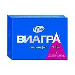 Виагра, 100 мг, таблетки, покрытые пленочной оболочкой, 2шт.