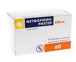 Метформин-Рихтер, 850 мг, таблетки, покрытые пленочной оболочкой, 60 шт.
