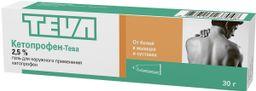 Кетопрофен-Тева, 2.5%, гель для наружного применения, 30 г, 1 шт.