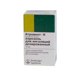 Атровент Н, 20 мкг/доза, 200 доз, аэрозоль для ингаляций дозированный, 10 мл, 1 шт.