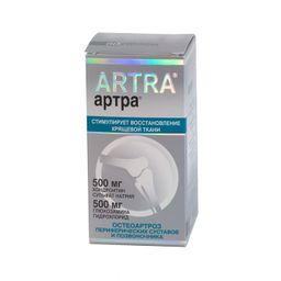 Артра, 500 мг+500 мг, таблетки, покрытые пленочной оболочкой, 60 шт.