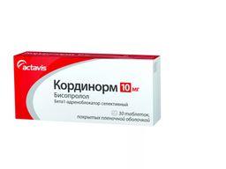 Кординорм, 10 мг, таблетки, покрытые пленочной оболочкой, 30 шт.