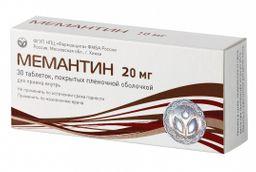 Мемантин, 20 мг, таблетки, покрытые пленочной оболочкой, 30 шт.