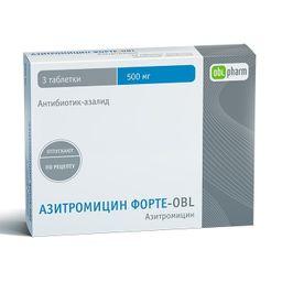 Азитромицин Форте-OBL, 500 мг, таблетки, покрытые пленочной оболочкой, 3шт.