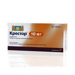 Крестор, 10 мг, таблетки, покрытые пленочной оболочкой, 126 шт.