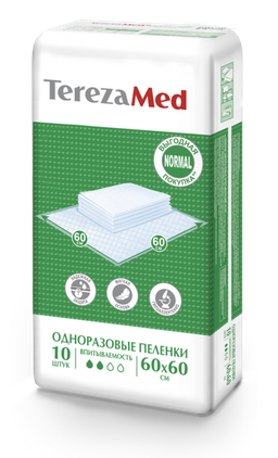 TerezaMed Normal пеленки одноразовые, 60 смx60 см, Normal (2 капли), 10 шт.