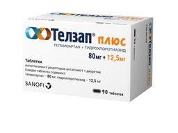 Телзап Плюс, 12.5 мг+80 мг, таблетки, покрытые пленочной оболочкой, 90шт.