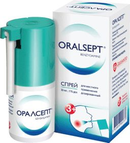 Оралсепт, 0.255 мг/доза, спрей для местного применения дозированный, 176 доз, 30 мл, 1 шт.