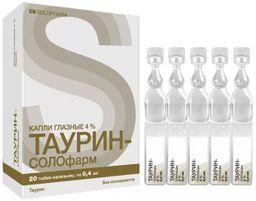 Таурин-СОЛОфарм, 4%, капли глазные, 0,4 мл, 20 шт.