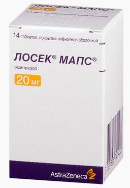 Лосек МАПС, 20 мг, таблетки, покрытые пленочной оболочкой, 14шт.