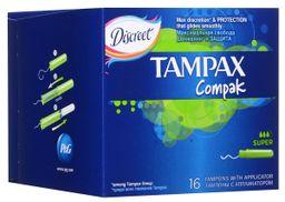 Tampax Compak super тампоны с аппликатором, тампоны женские гигиенические, 16 шт.