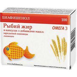 Биафишенол рыбий жир с маслом зародышей пшеницы и льна, 0.3 г, капсулы, 100 шт.