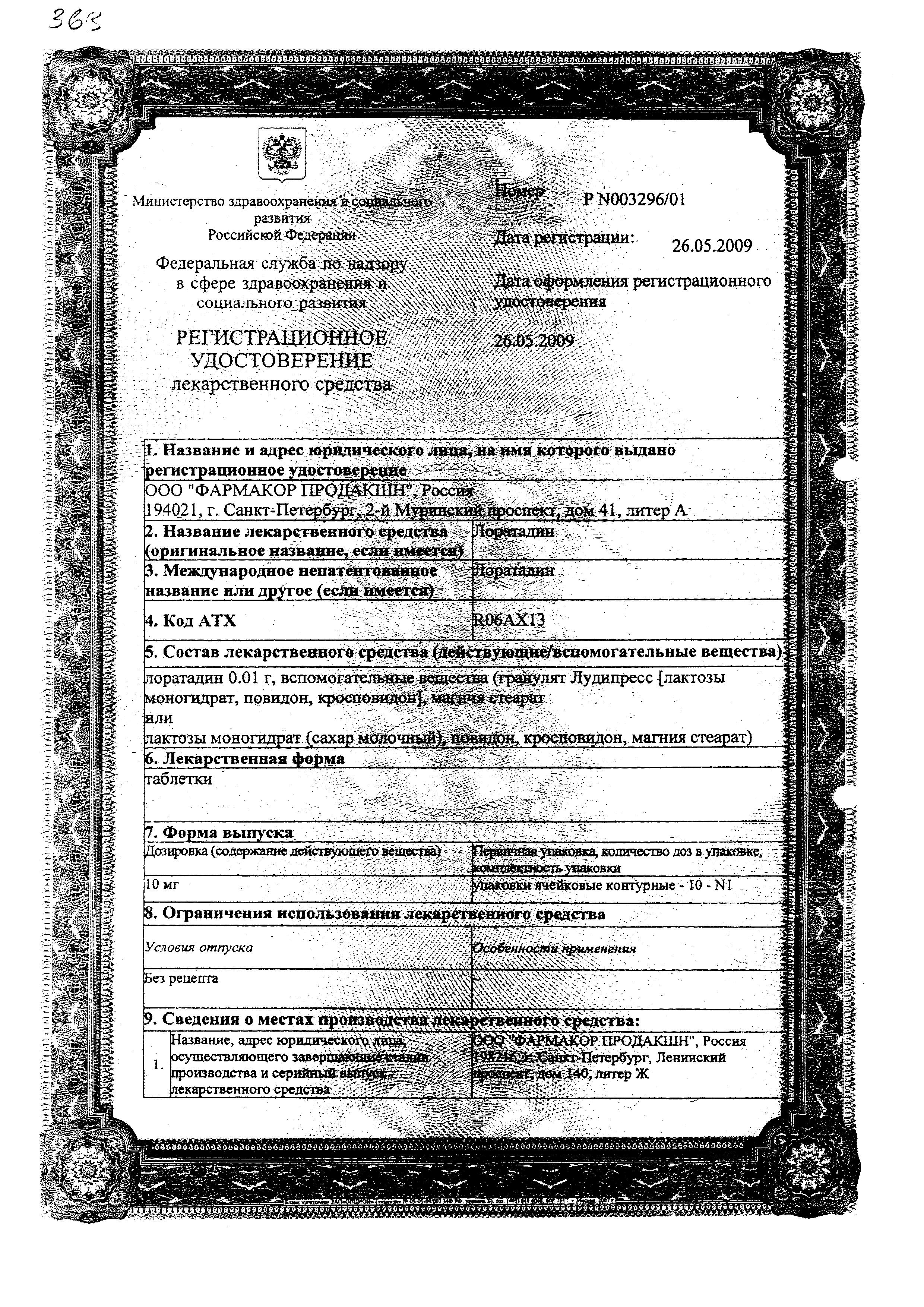 Лоратадин сертификат