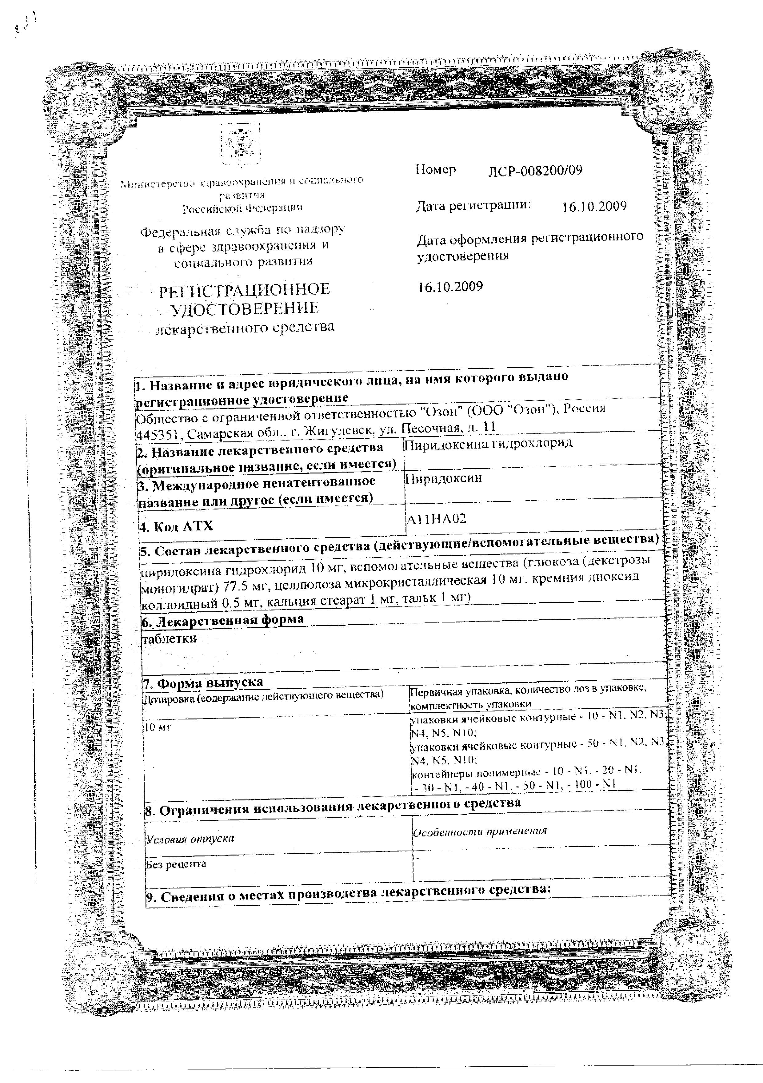 Пиридоксина гидрохлорид сертификат