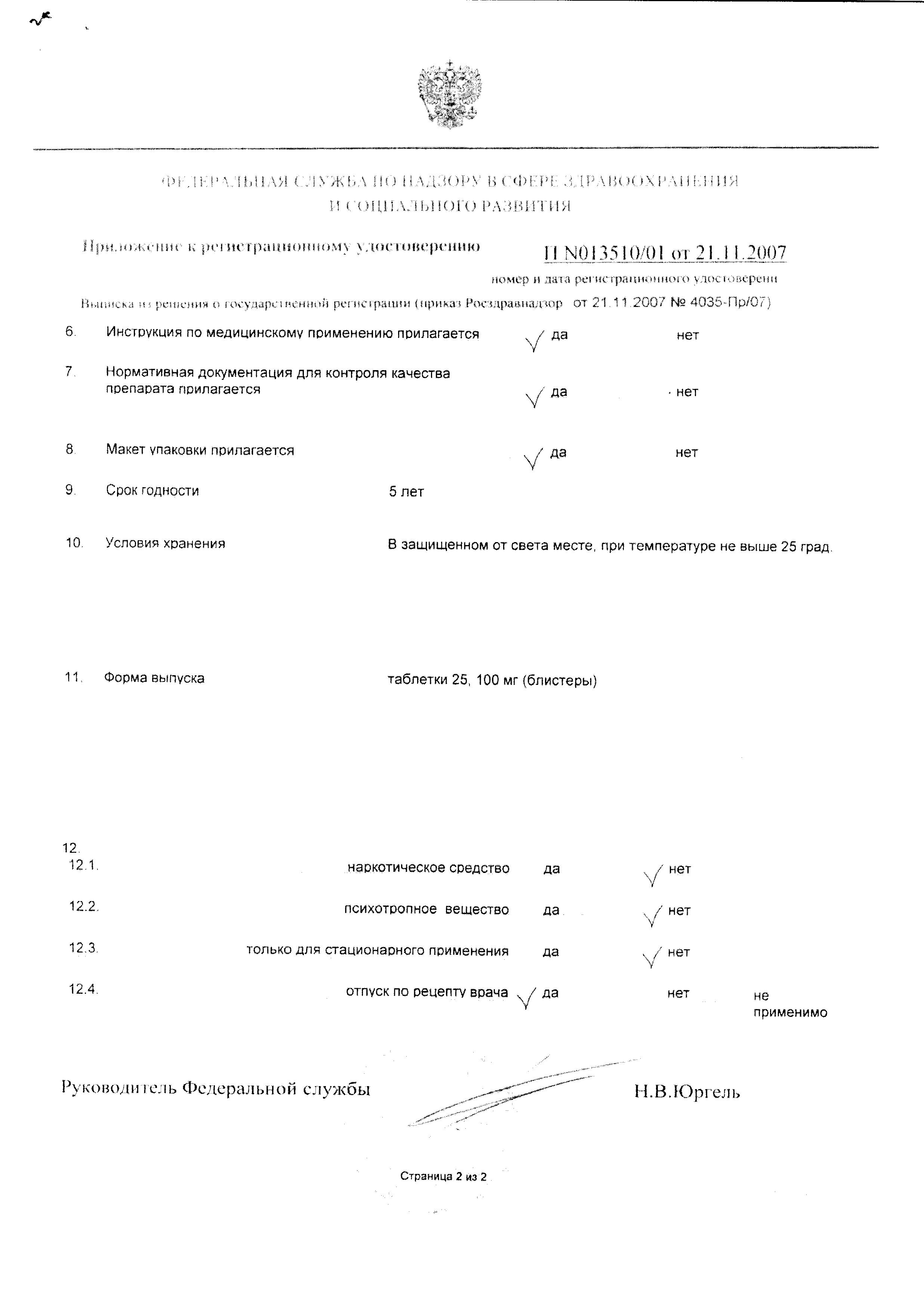 Гипотиазид сертификат
