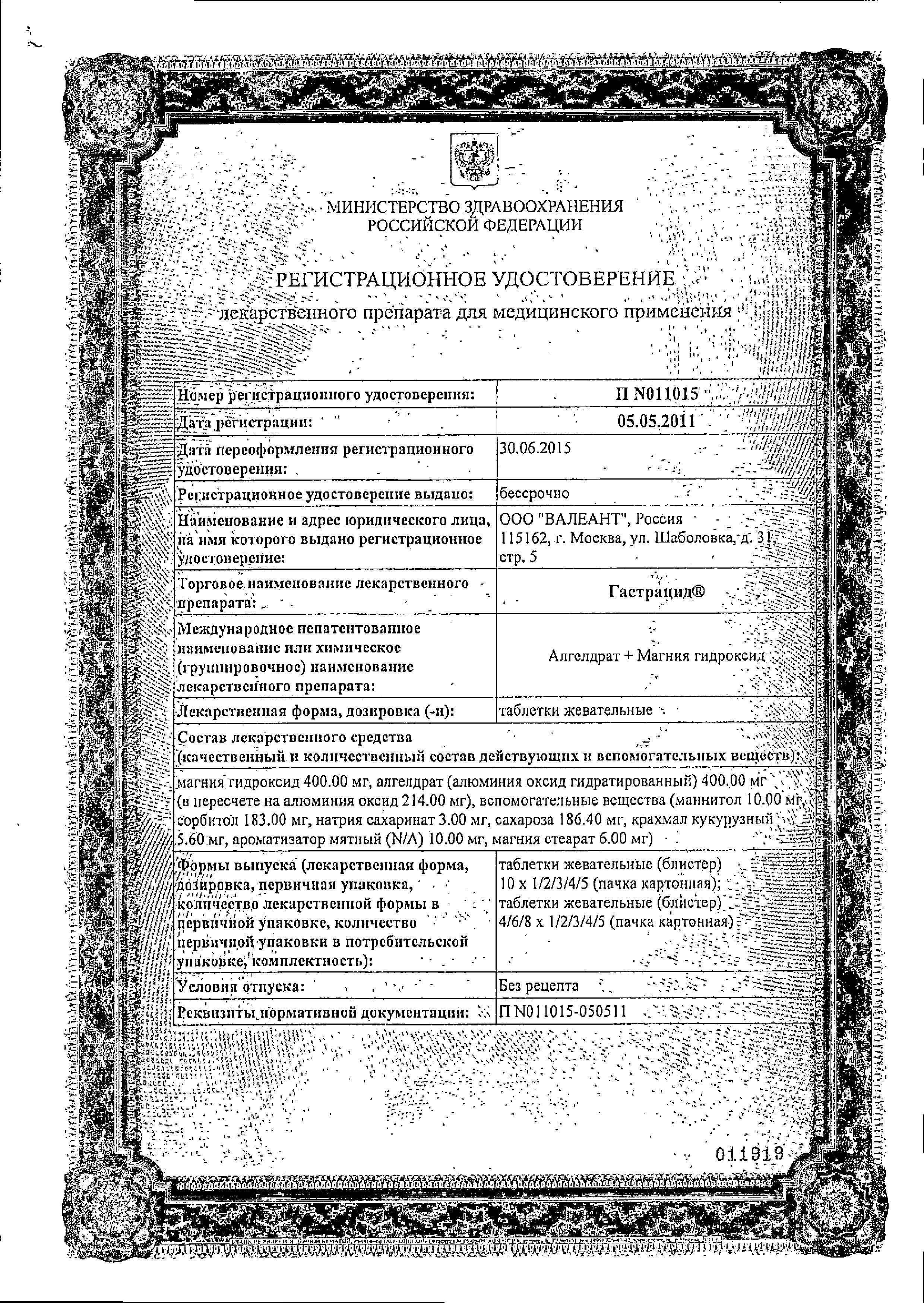 Гастрацид сертификат