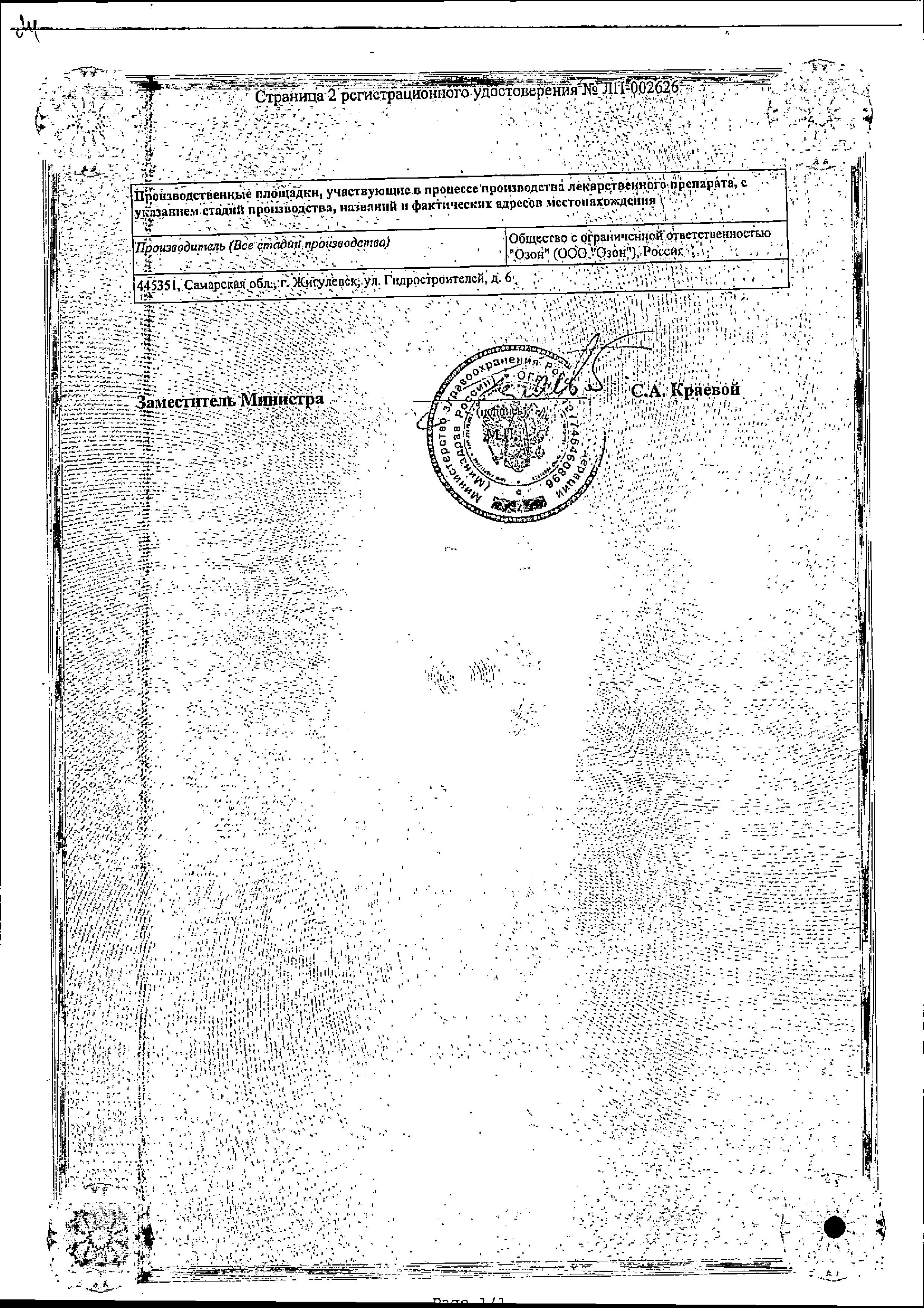 Д-Пантенол сертификат