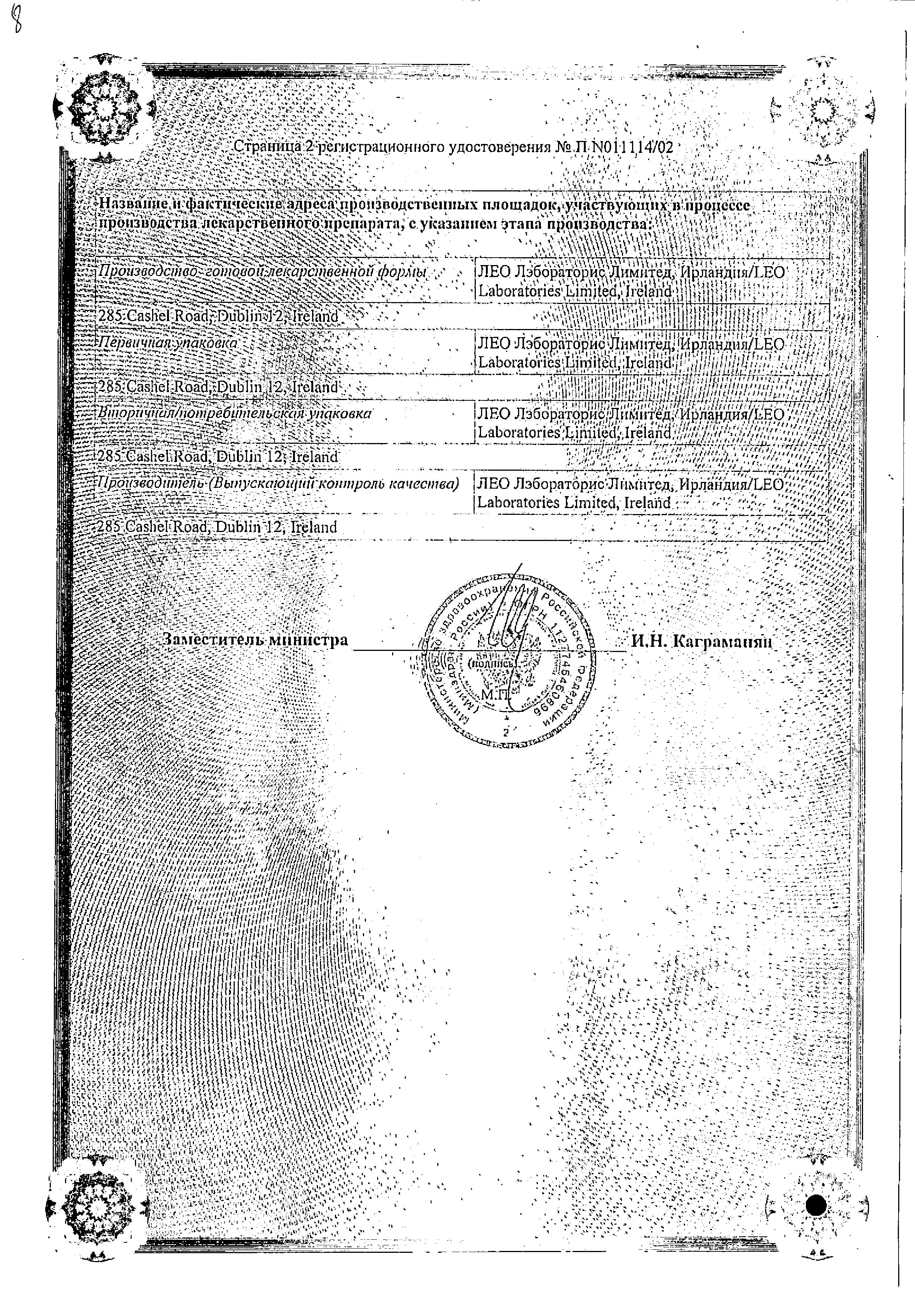 Фуцидин сертификат