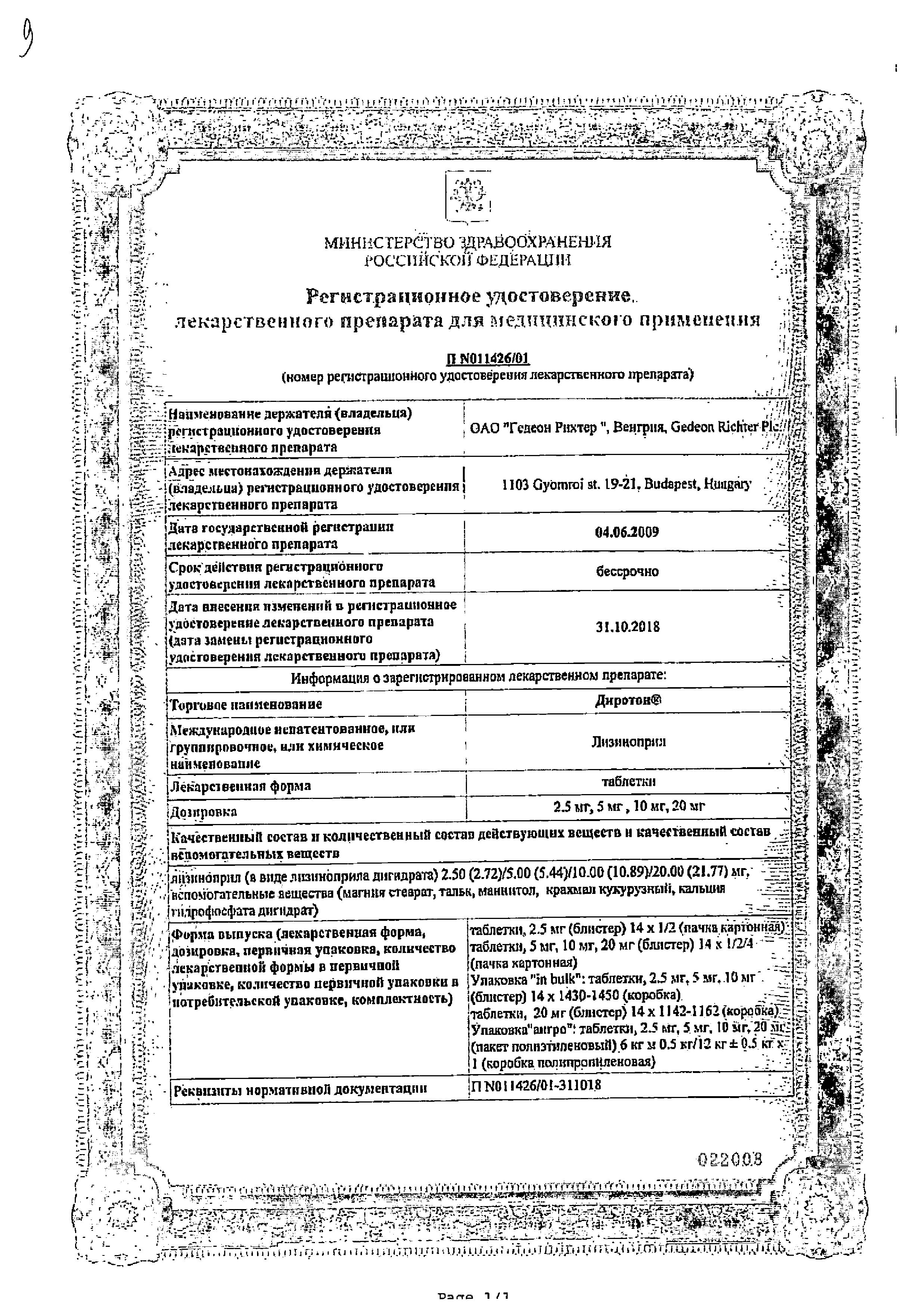 Диротон сертификат