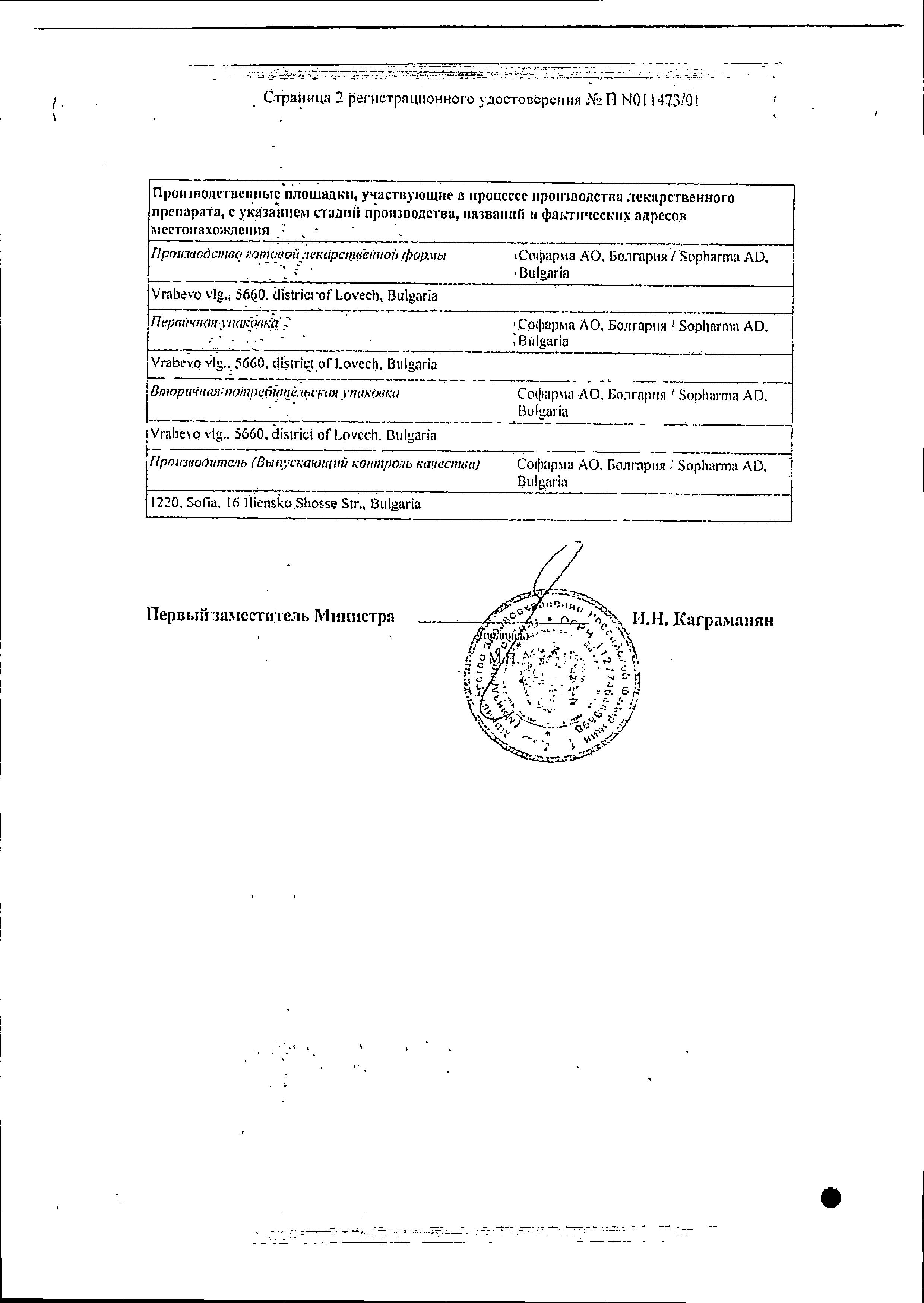 Индометацин Софарма (мазь) сертификат