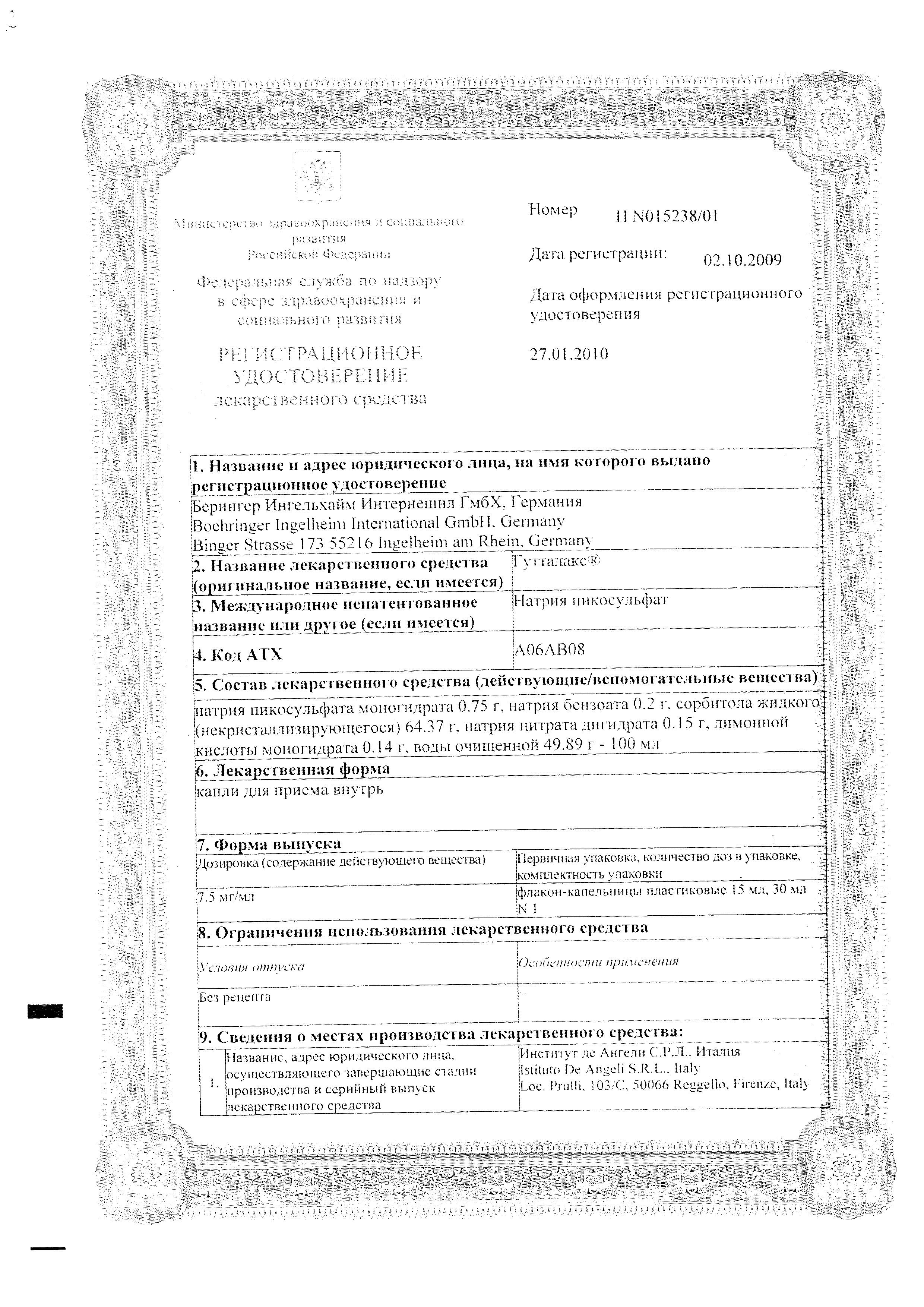 Гутталакс сертификат
