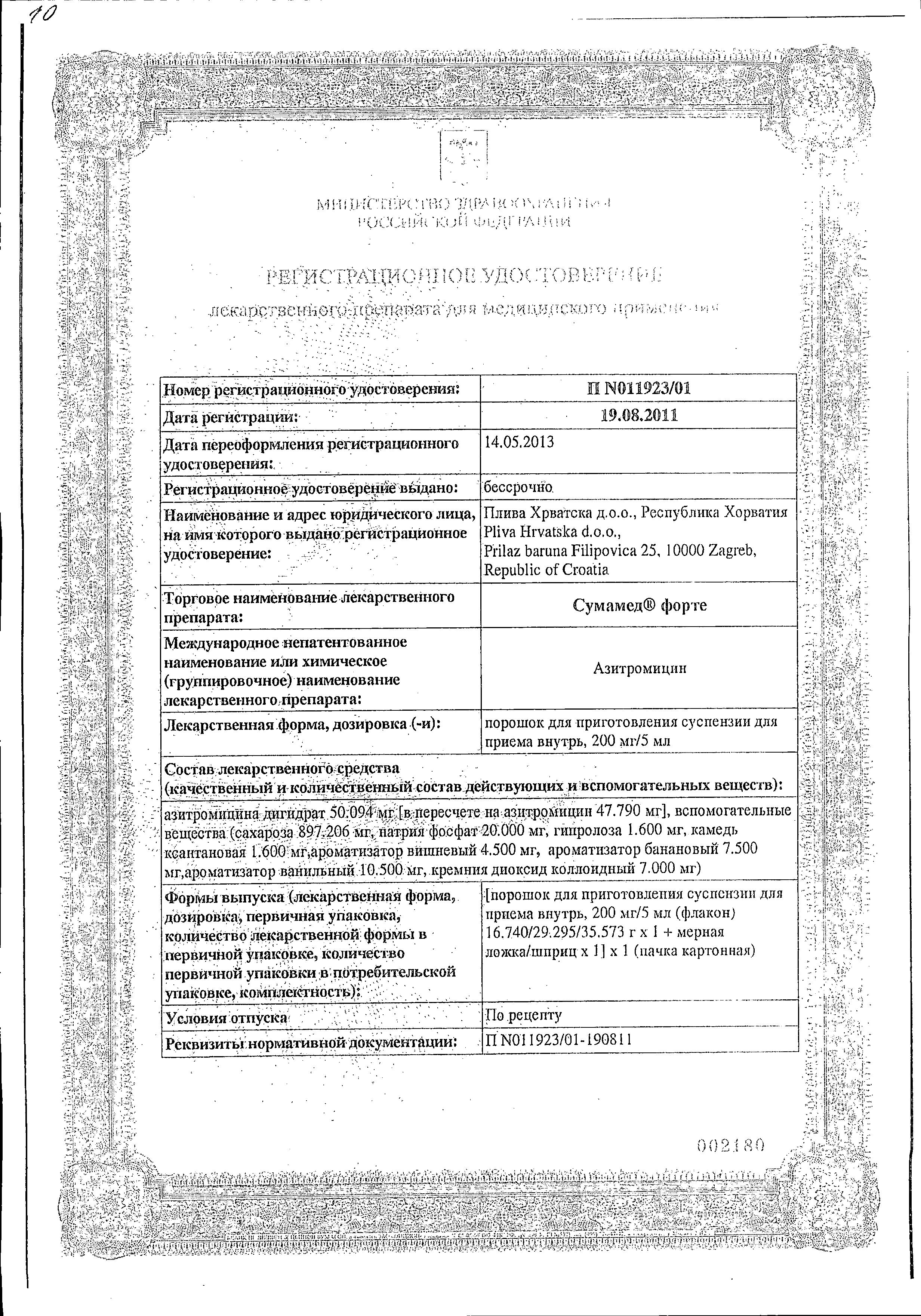 Сумамед форте сертификат