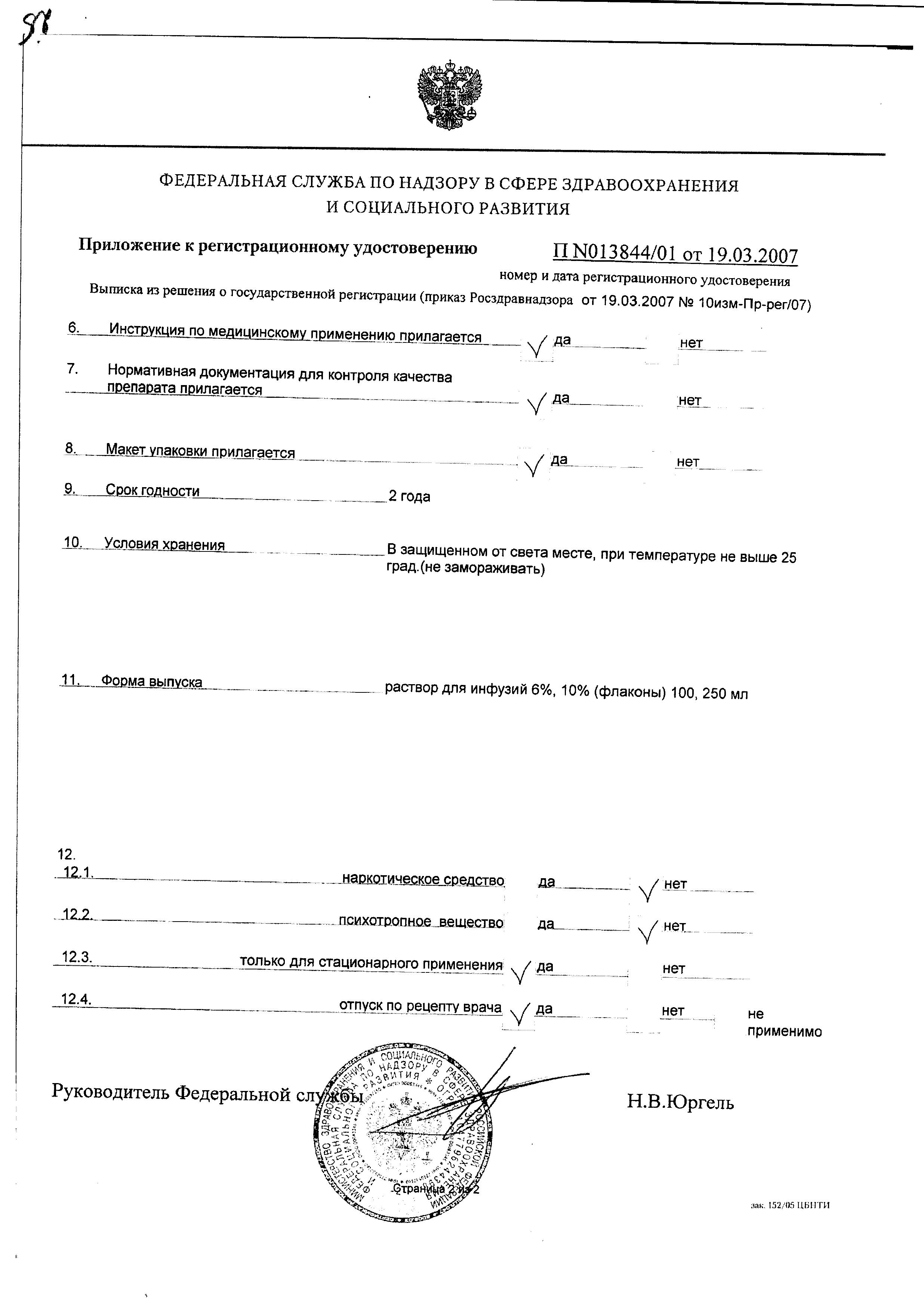 Аминовен Инфант сертификат
