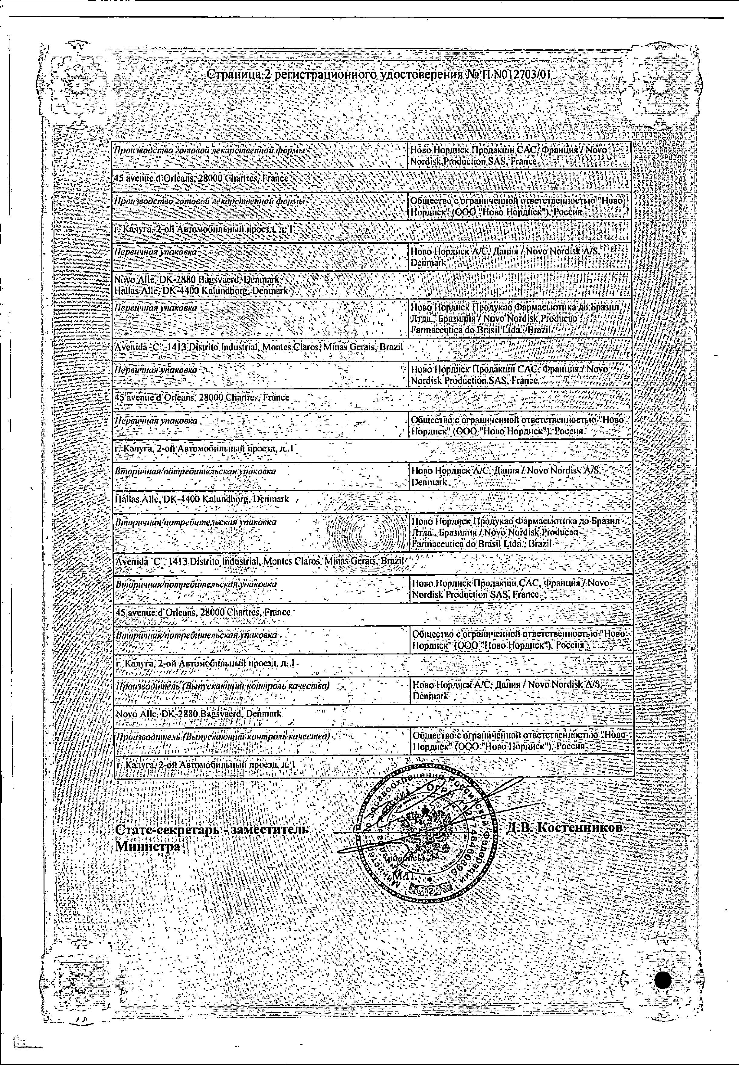 НовоРапид Пенфилл сертификат