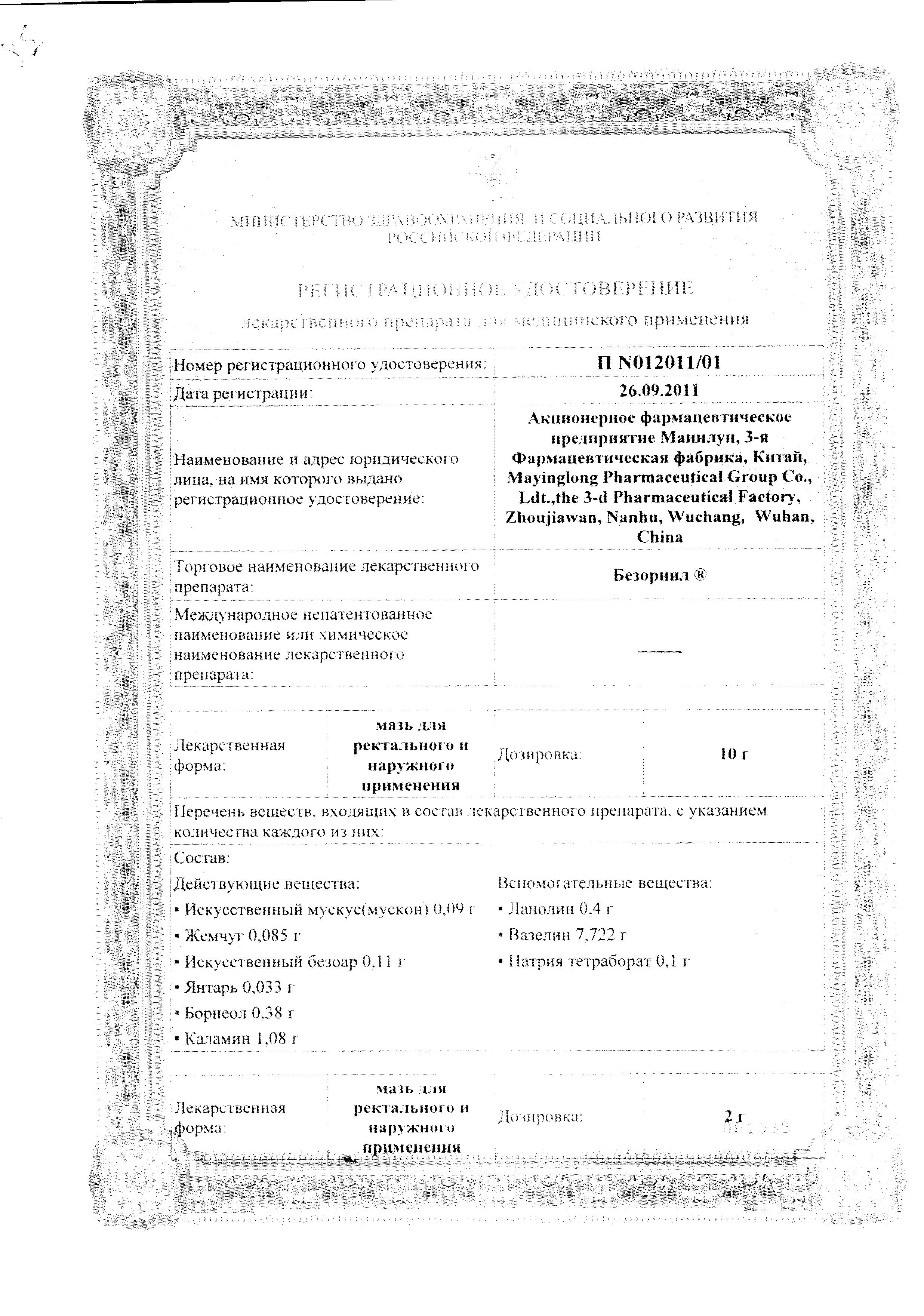 Безорнил сертификат