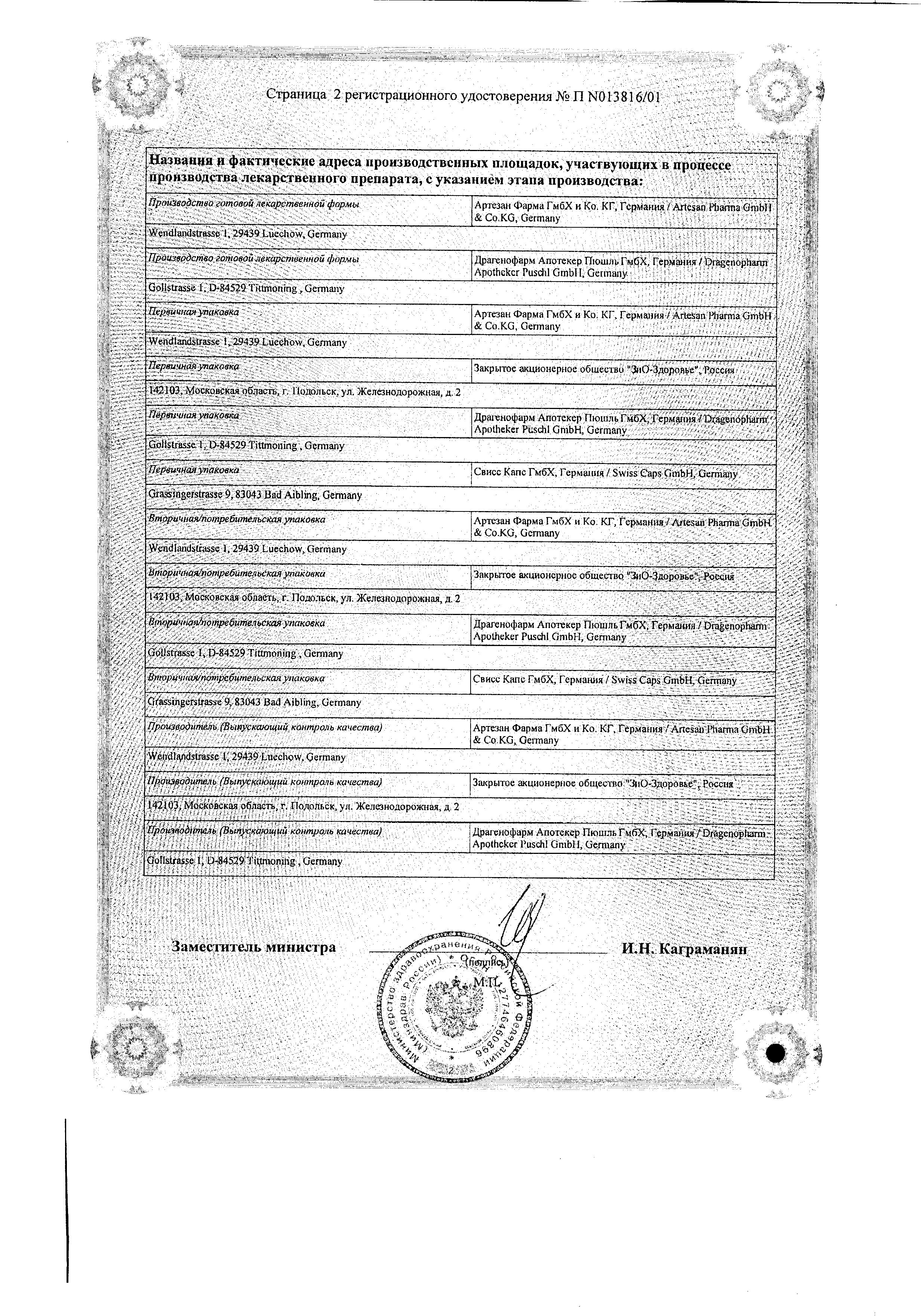 Метфогамма 850 сертификат