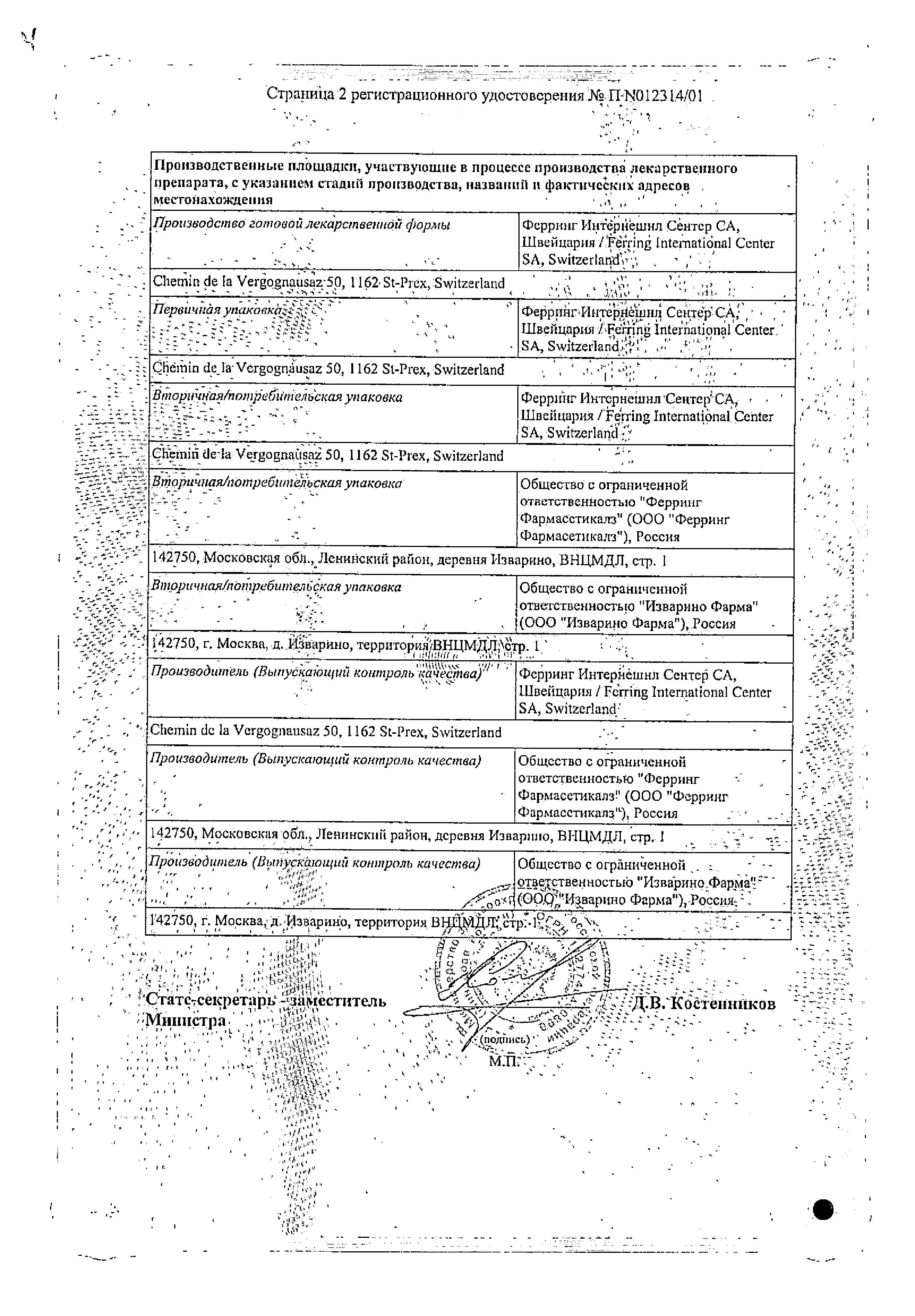 Минирин сертификат