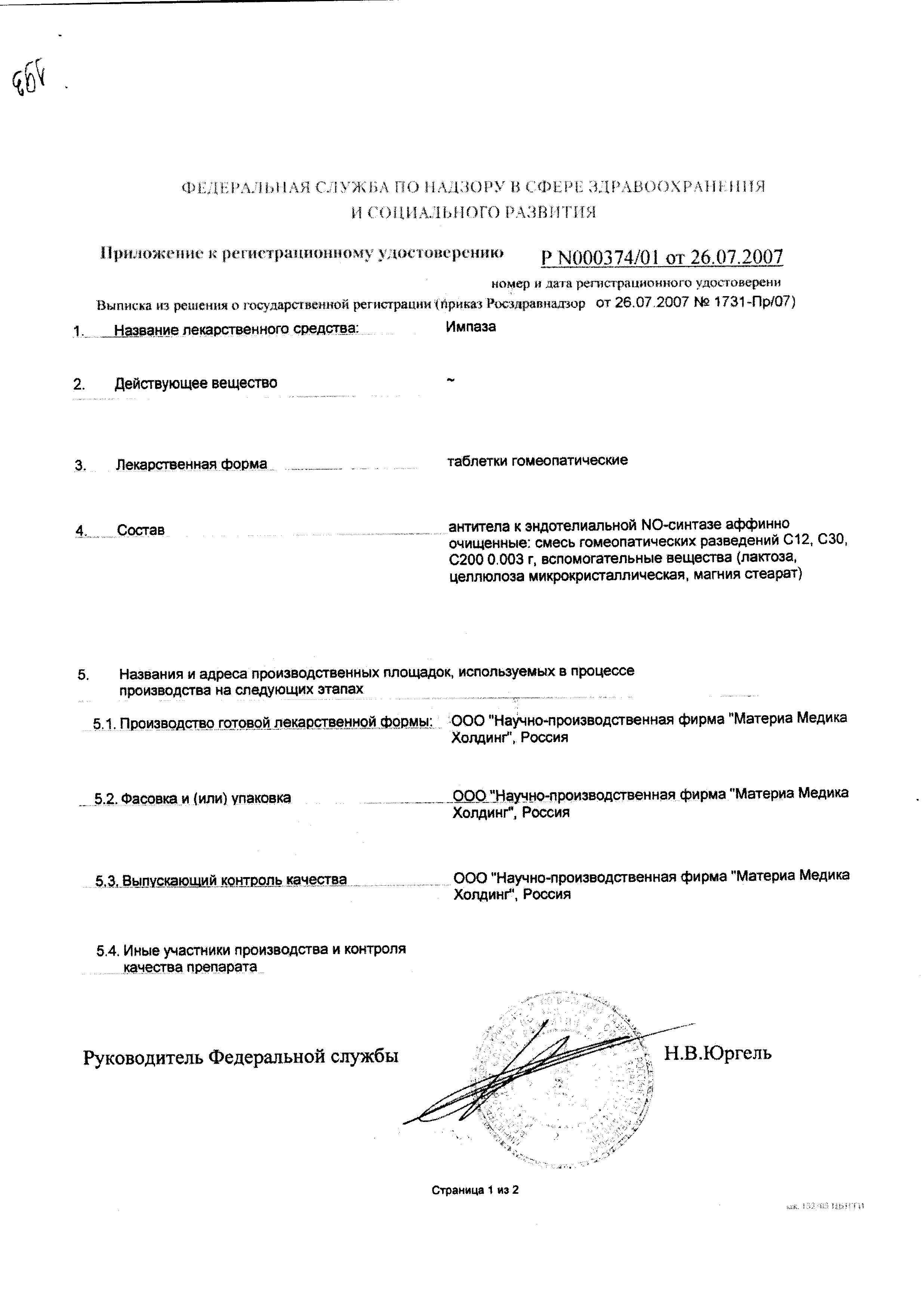 Импаза сертификат
