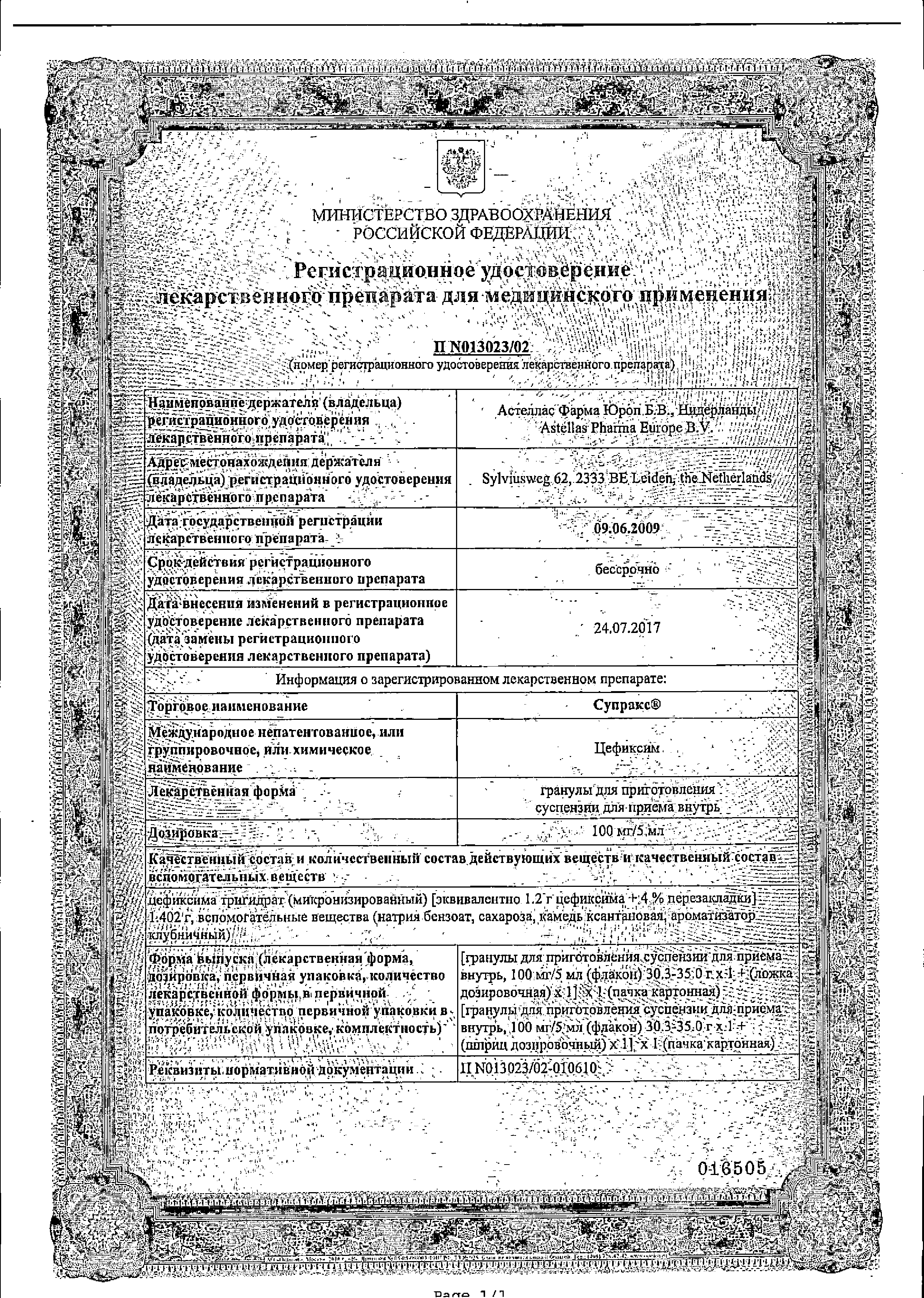 Супракс сертификат