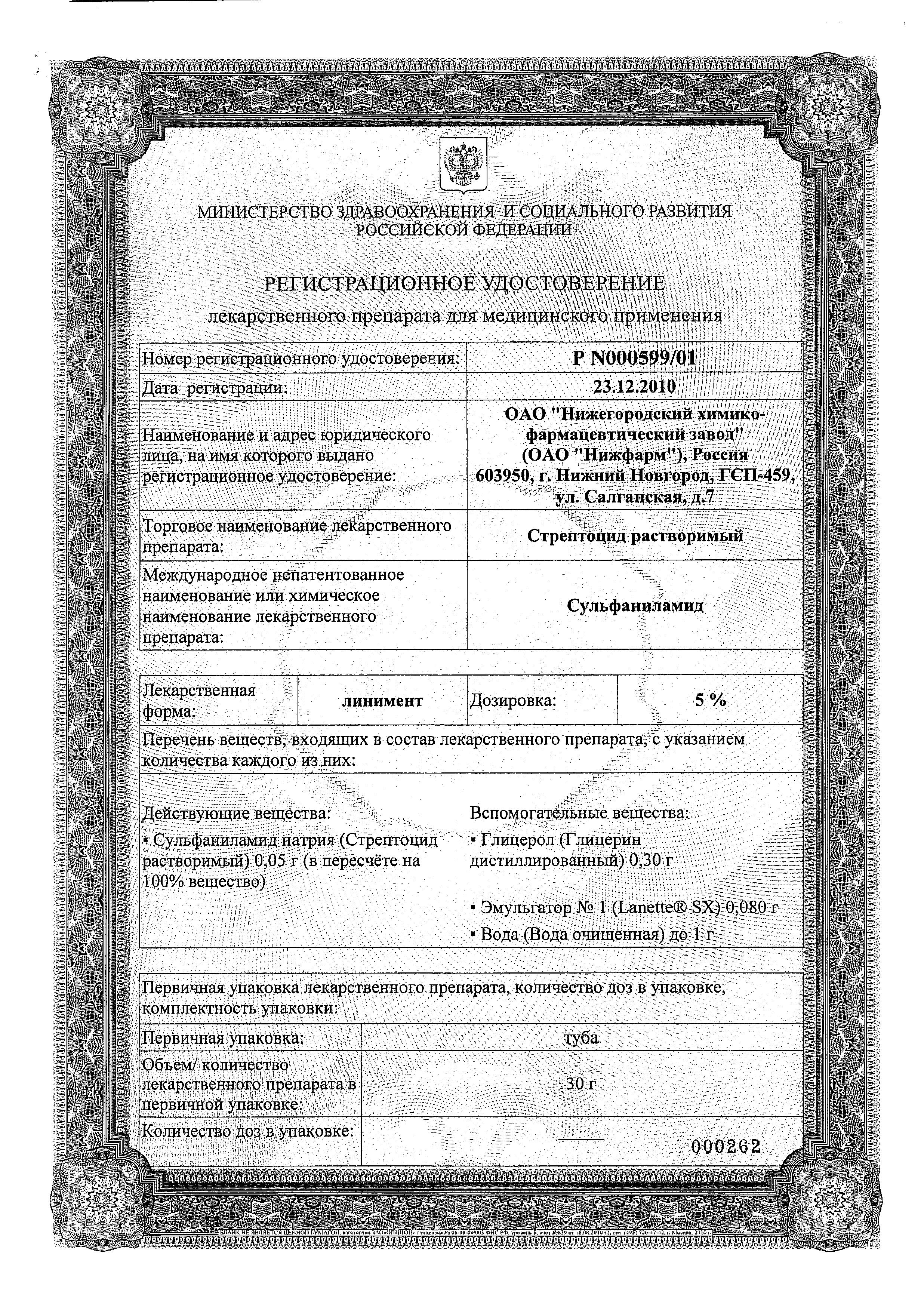 Стрептоцид растворимый сертификат