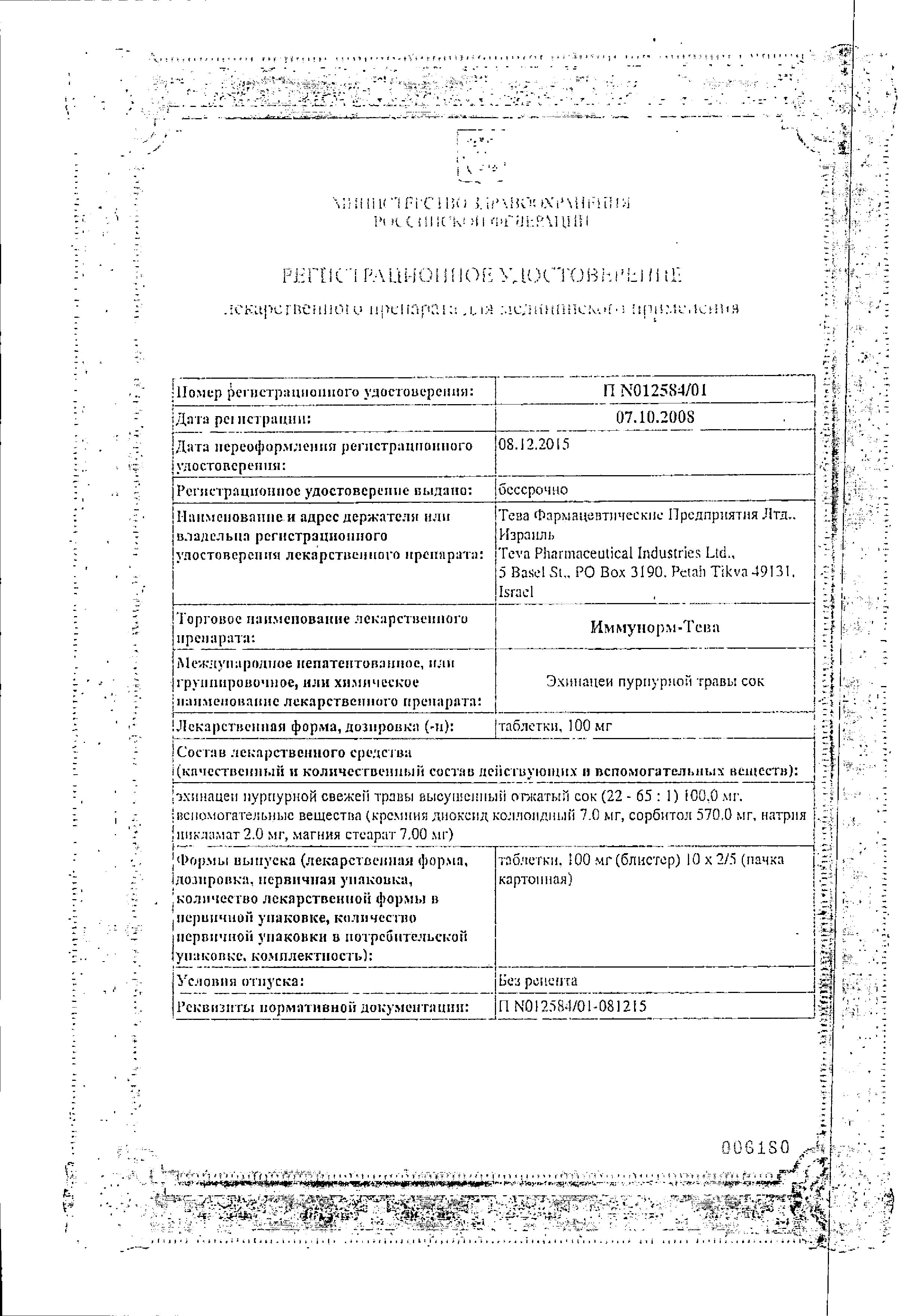 Иммунорм сертификат