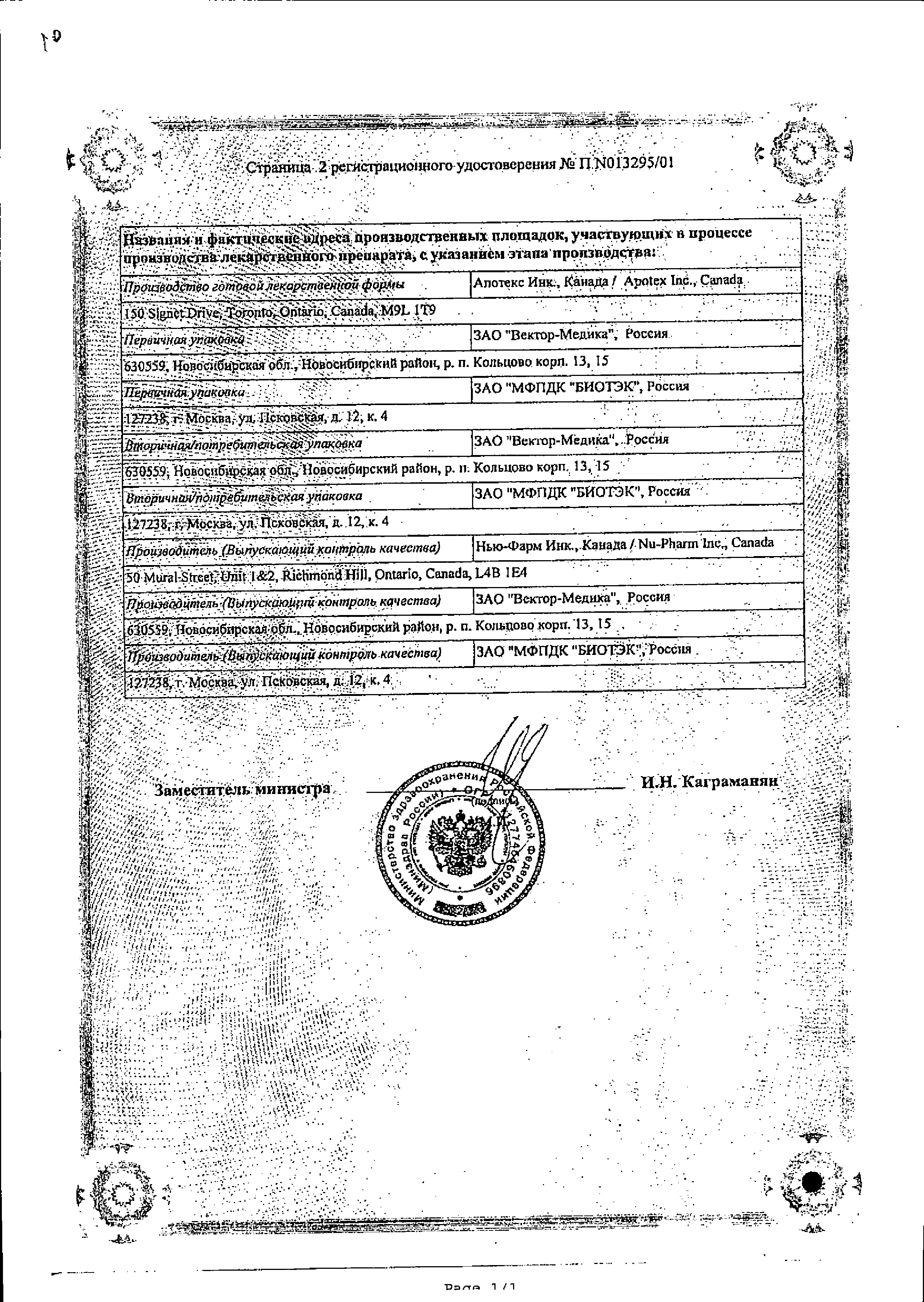 Кломипрамин сертификат