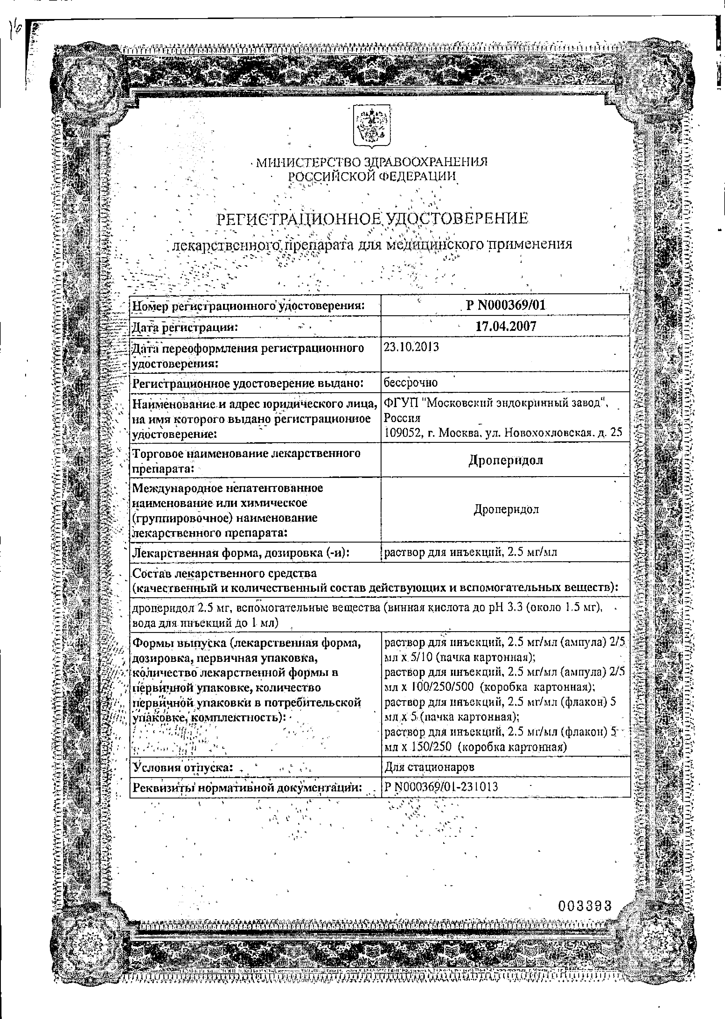 Дроперидол сертификат