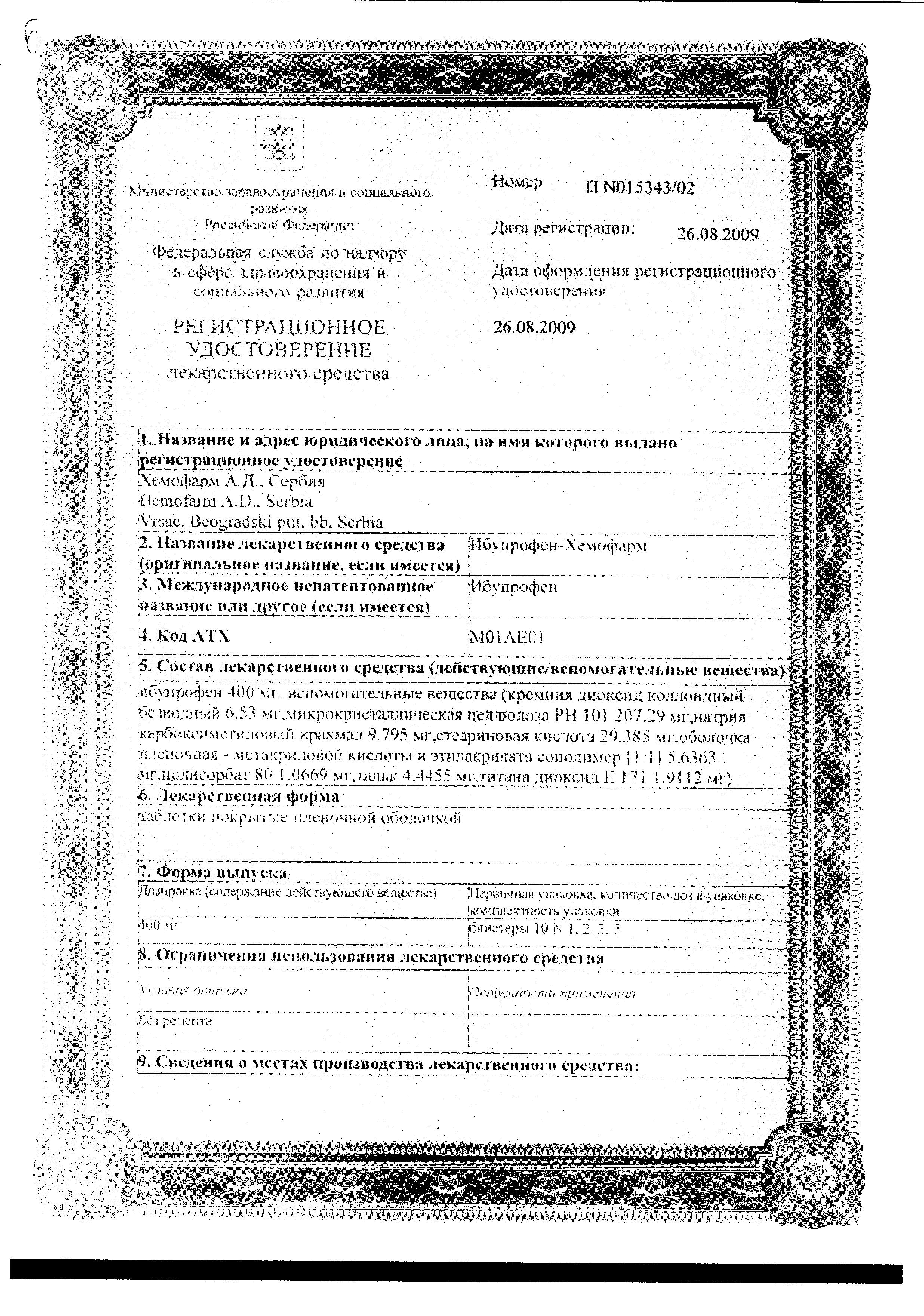 Ибупрофен-Хемофарм сертификат