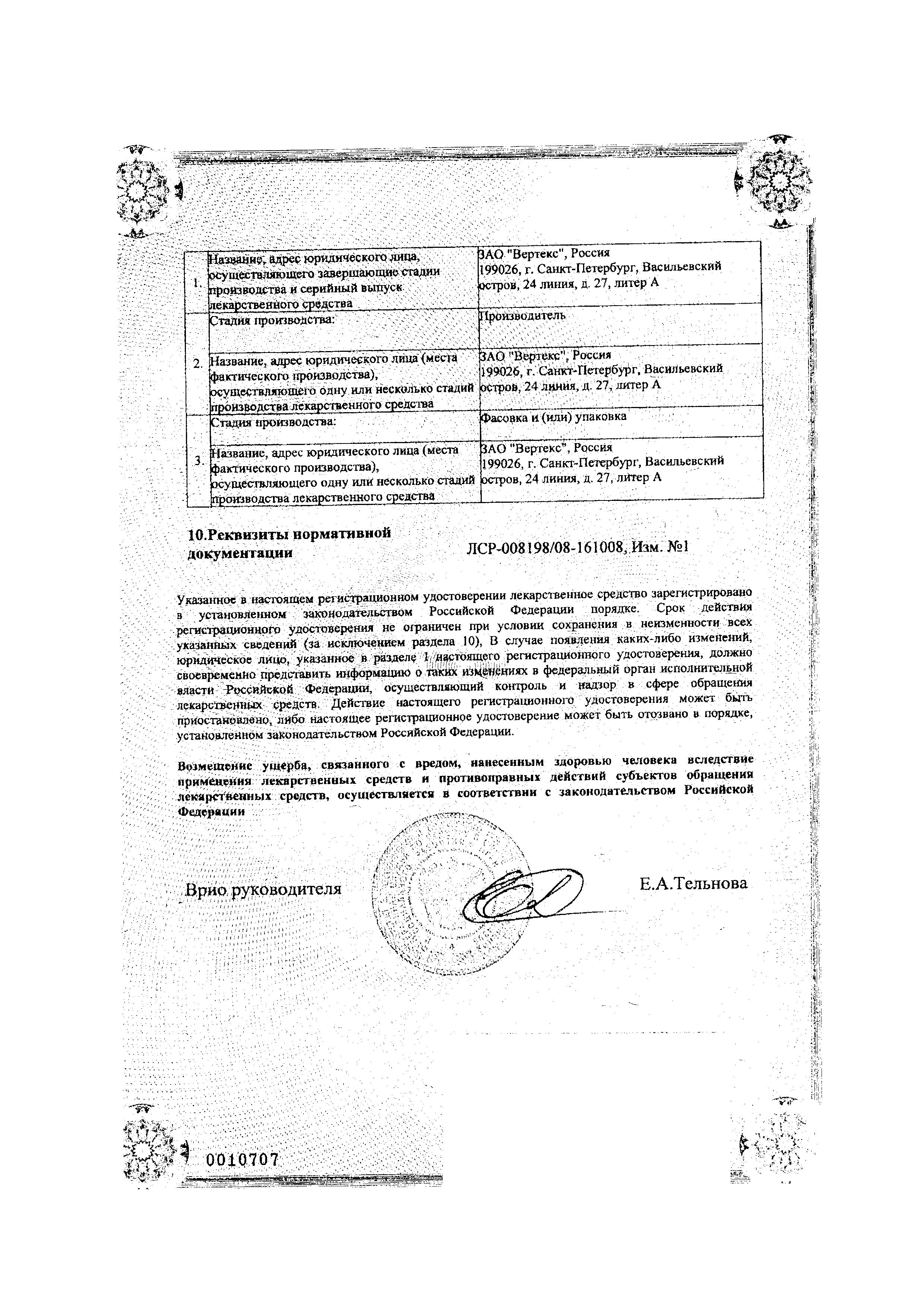 Амлодипин сертификат