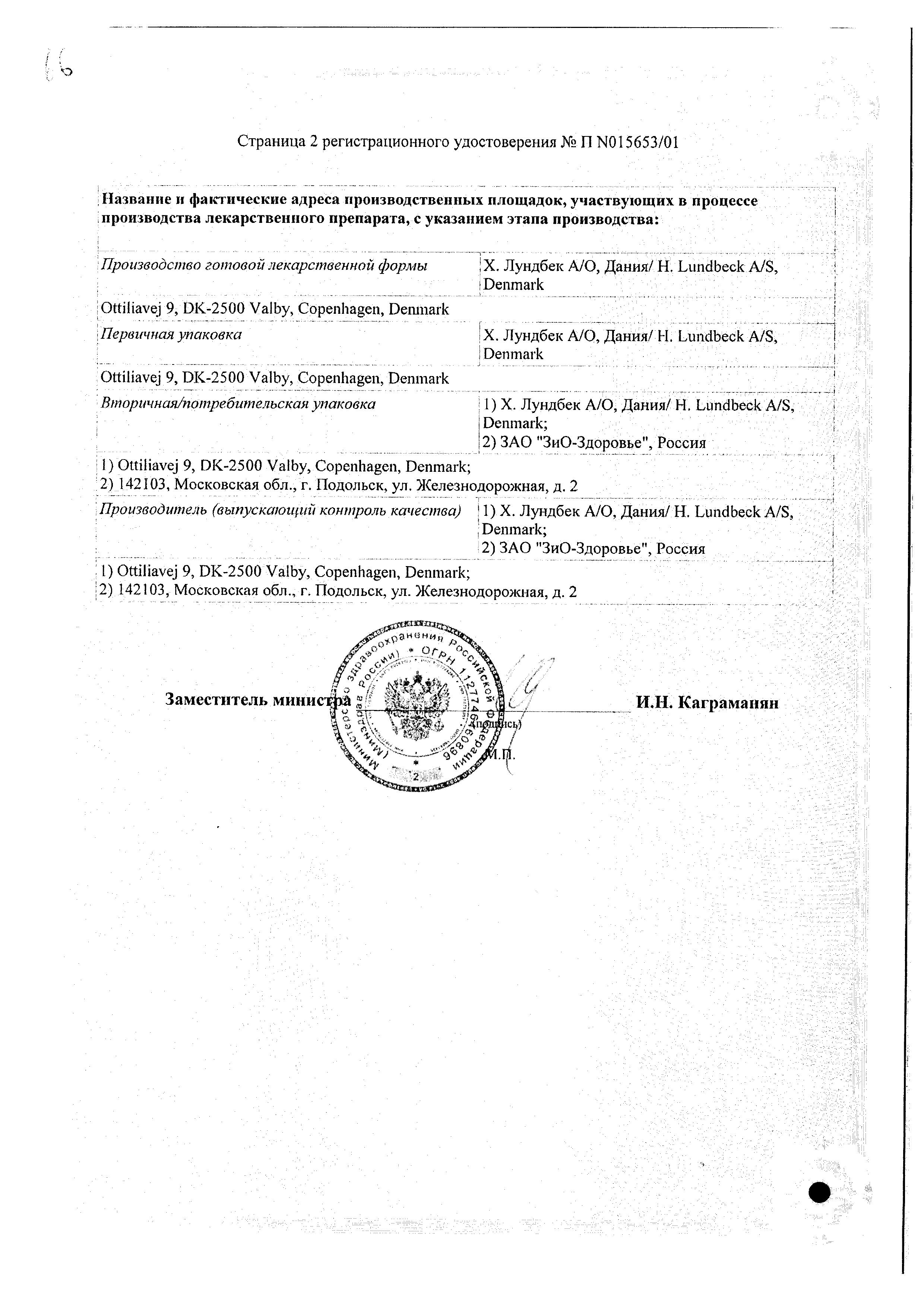 Ципралекс сертификат
