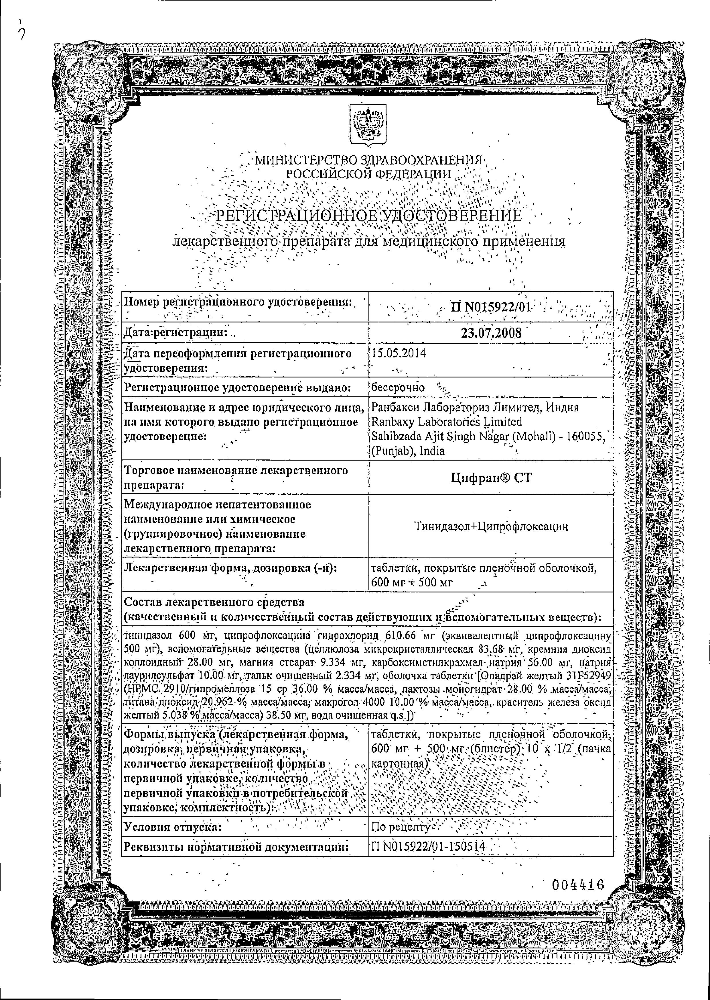 Цифран СТ сертификат