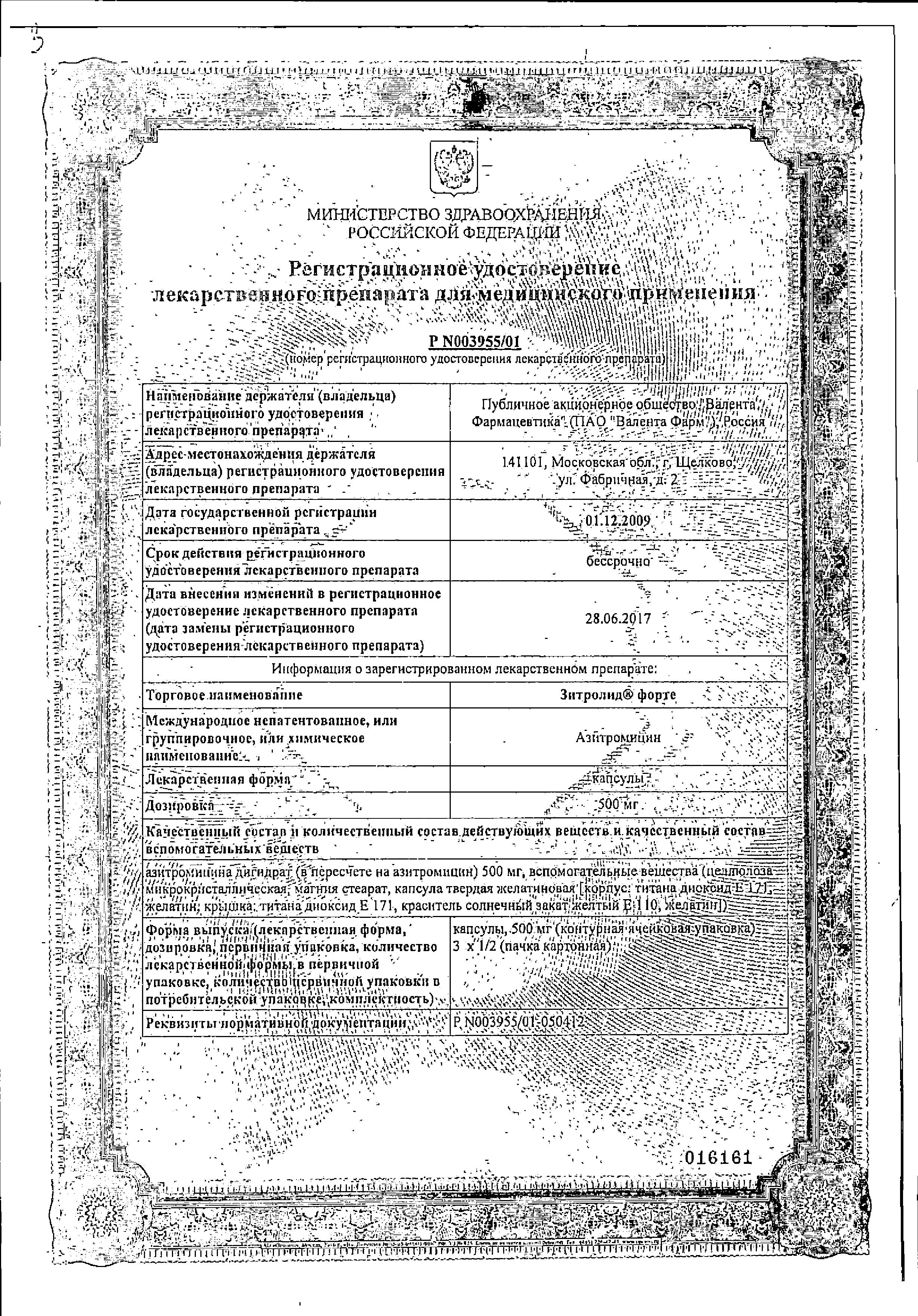Зитролид форте сертификат