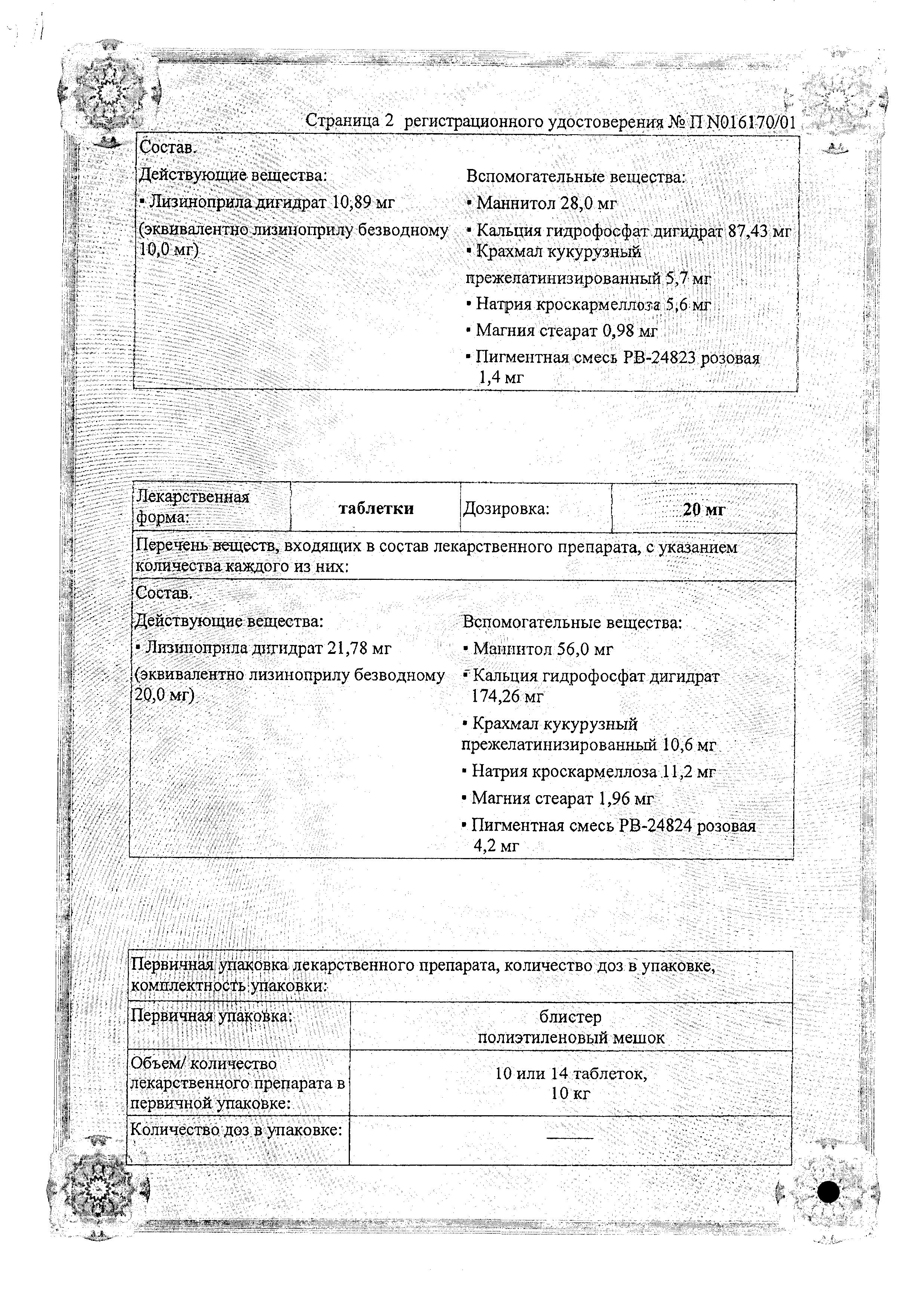 Лизинотон сертификат