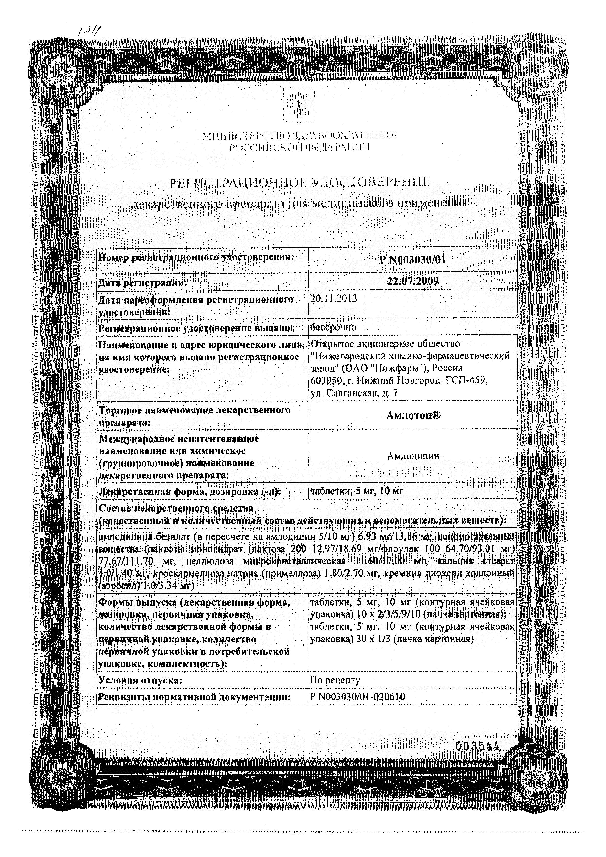 Амлотоп сертификат