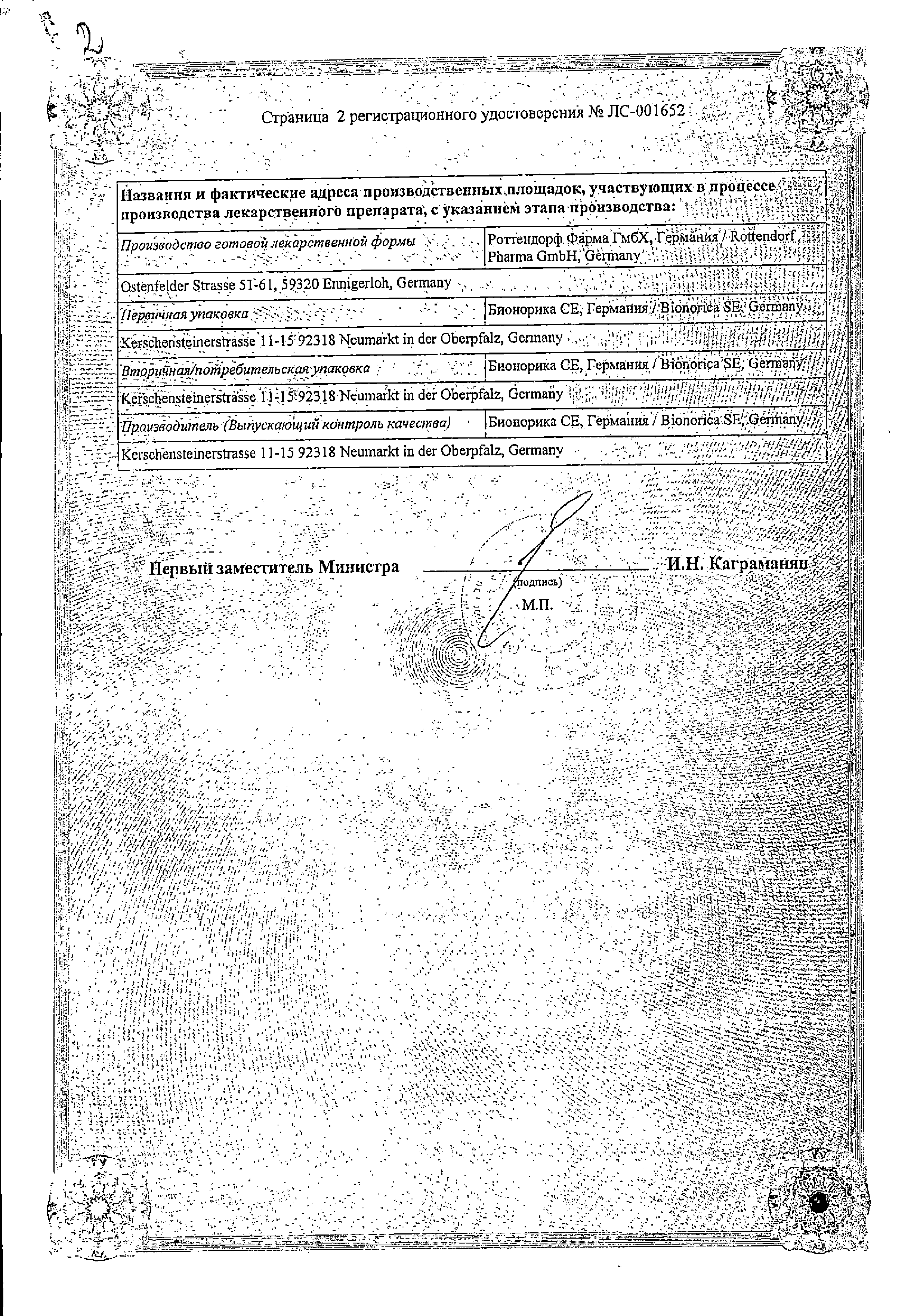 Тонзипрет сертификат