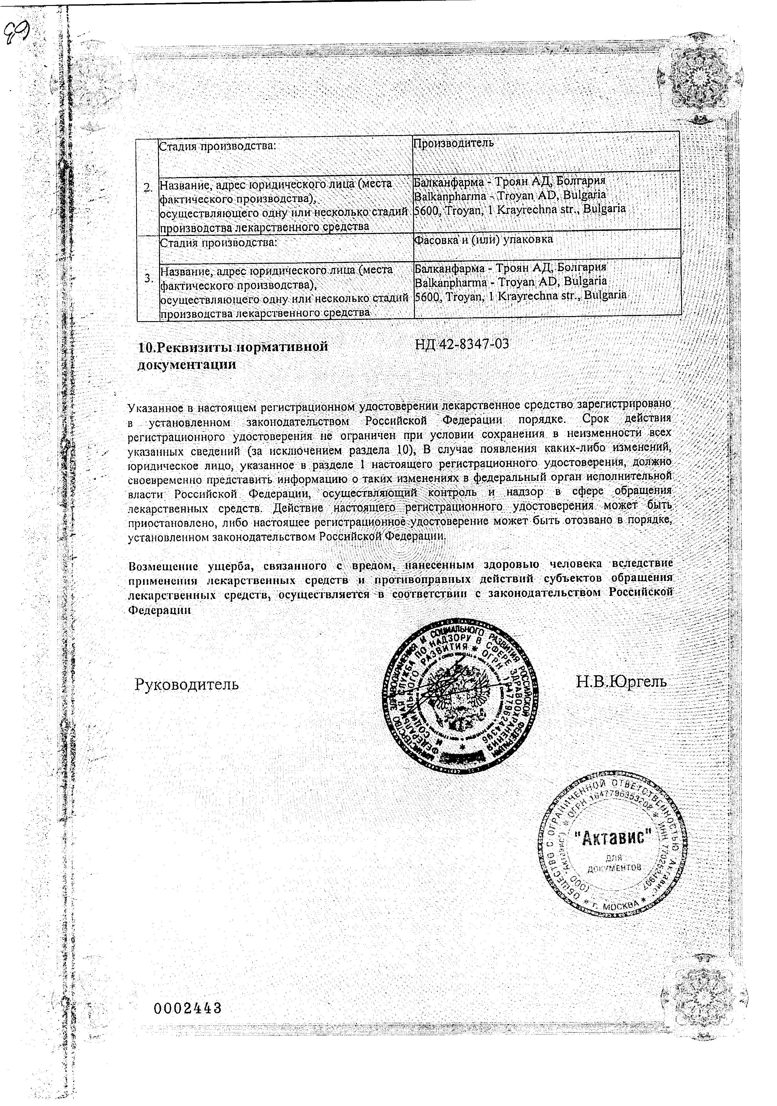Индовазин сертификат