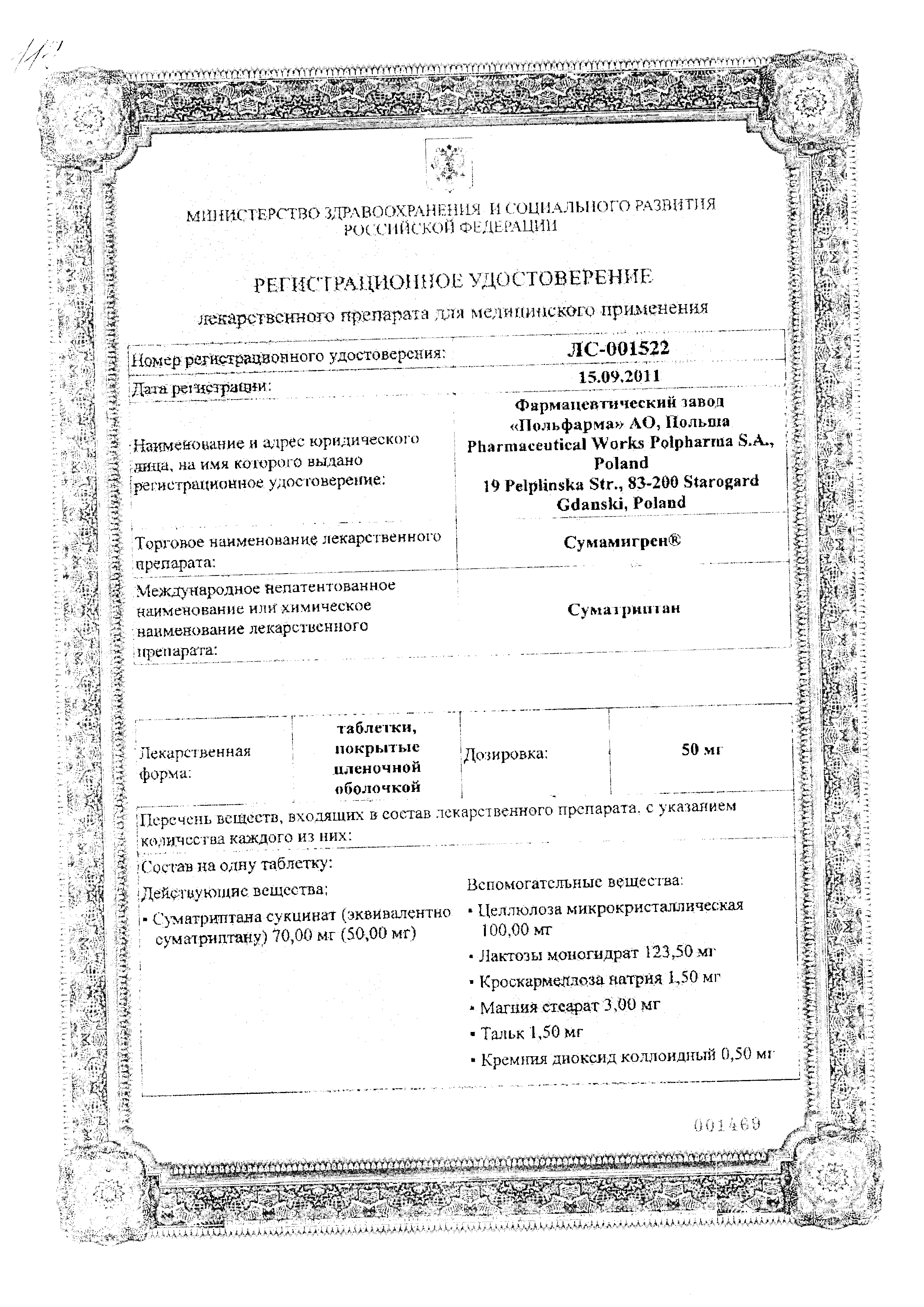 Сумамигрен сертификат