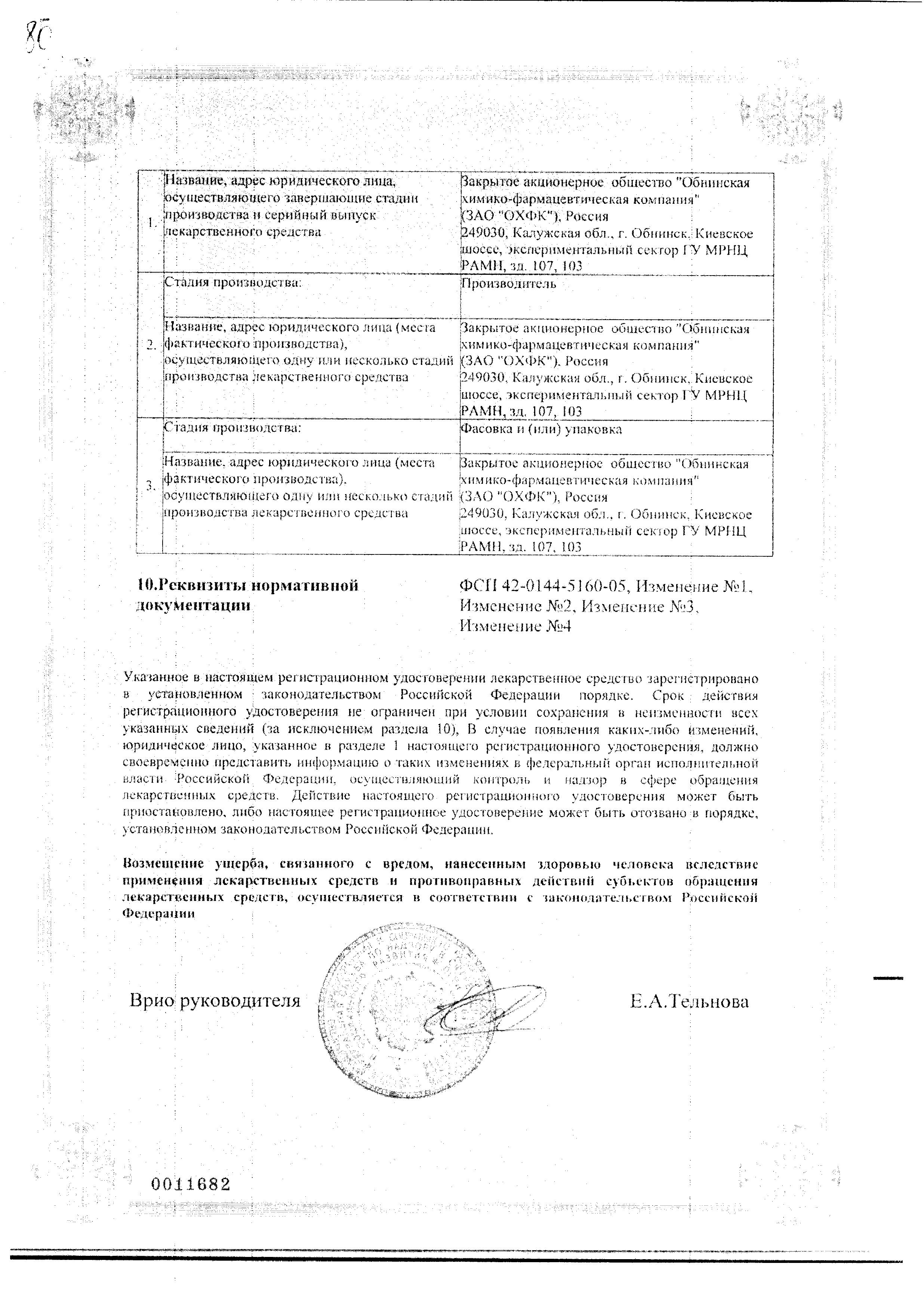 Гинепристон сертификат
