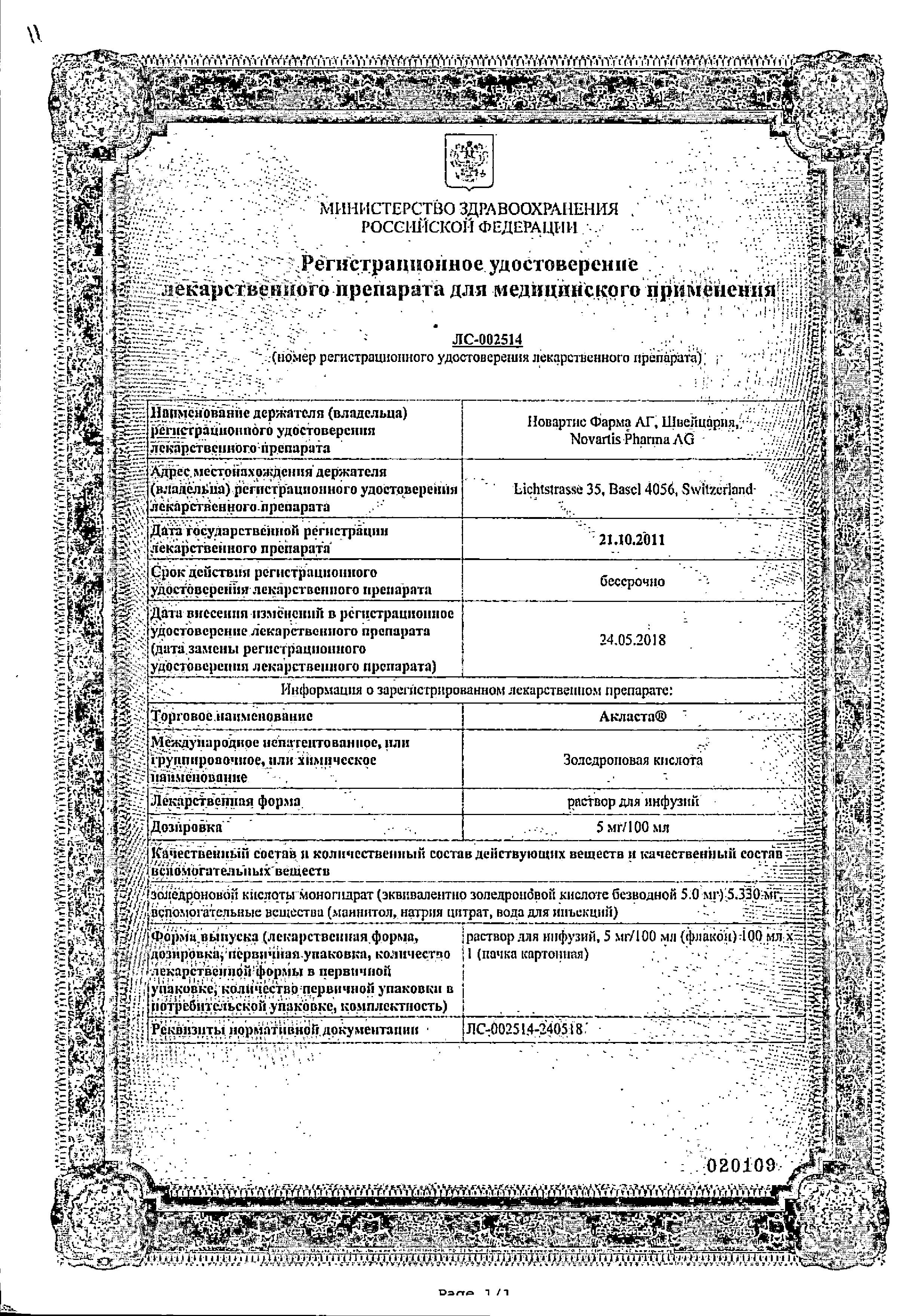 Акласта сертификат