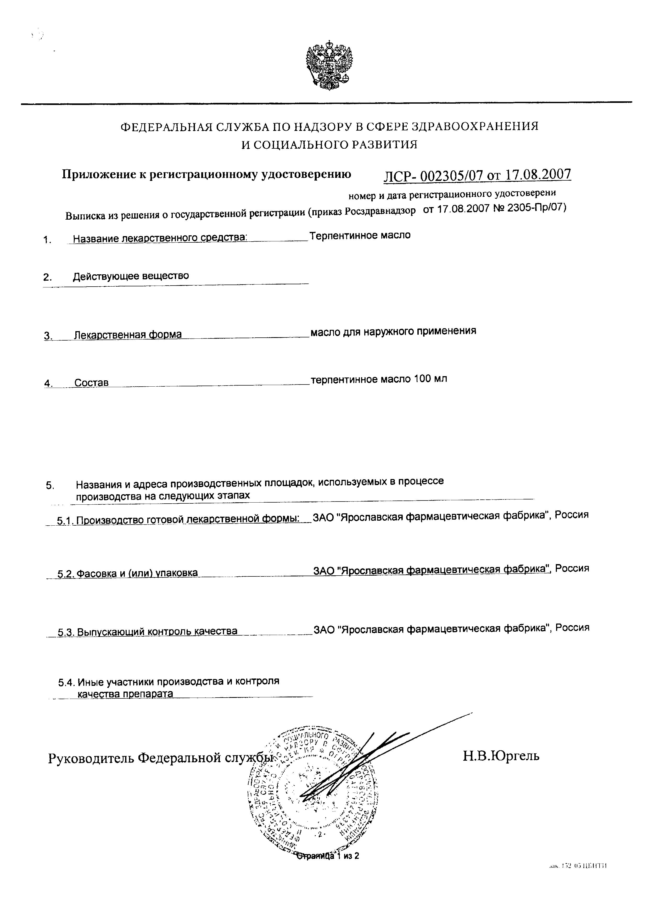 Терпентинное масло сертификат